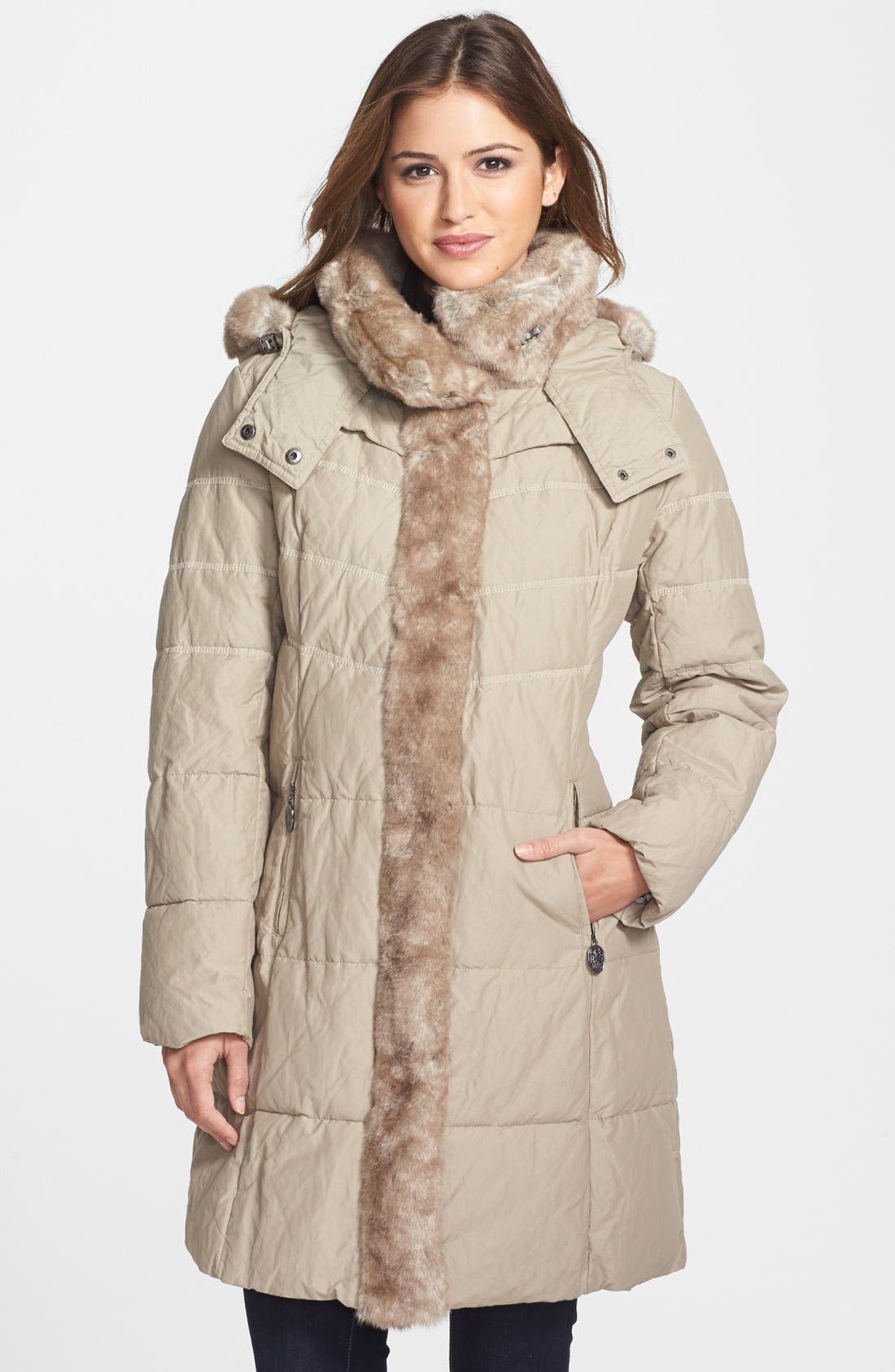 Main Image - Hilary Radley Faux Fur Collar & Tuxedo Trim Quilted Coat