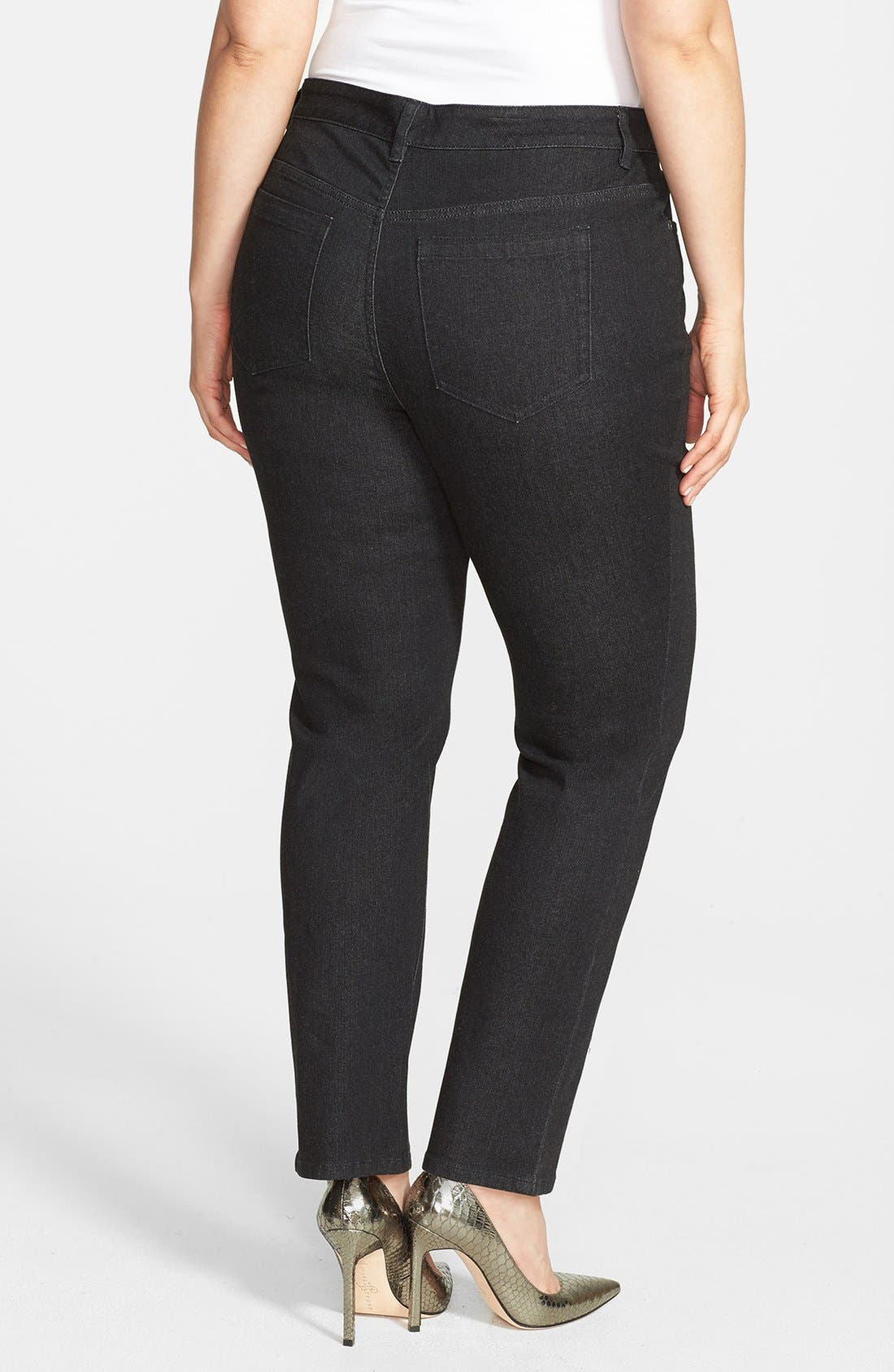 Alternate Image 2  - Two by Vince Camuto Skinny Jeans (Black Denim) (Plus Size)