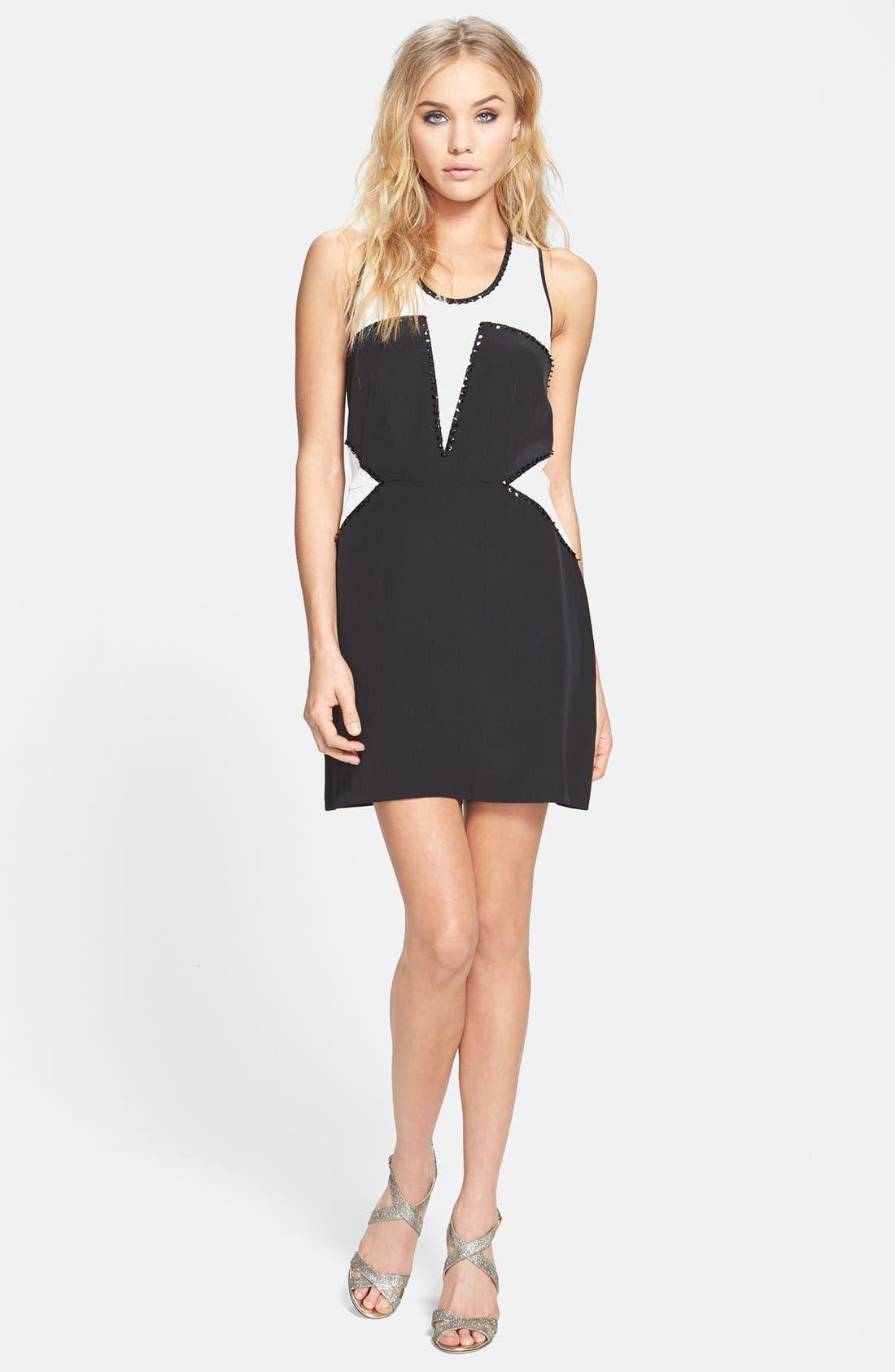 Main Image - Madison Marcus Embellished Colorblock A-Line Silk Dress