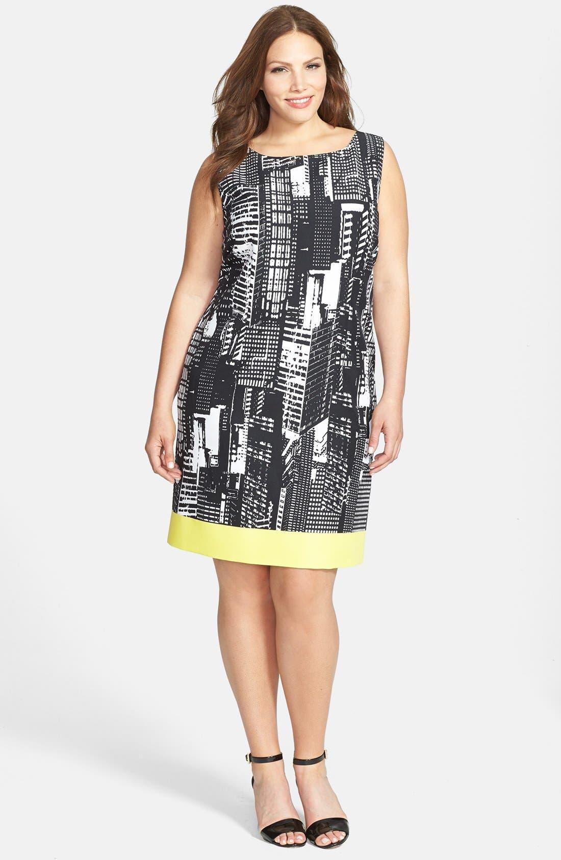Main Image - Tahari Print Sleeveless Shift Dress (Plus)