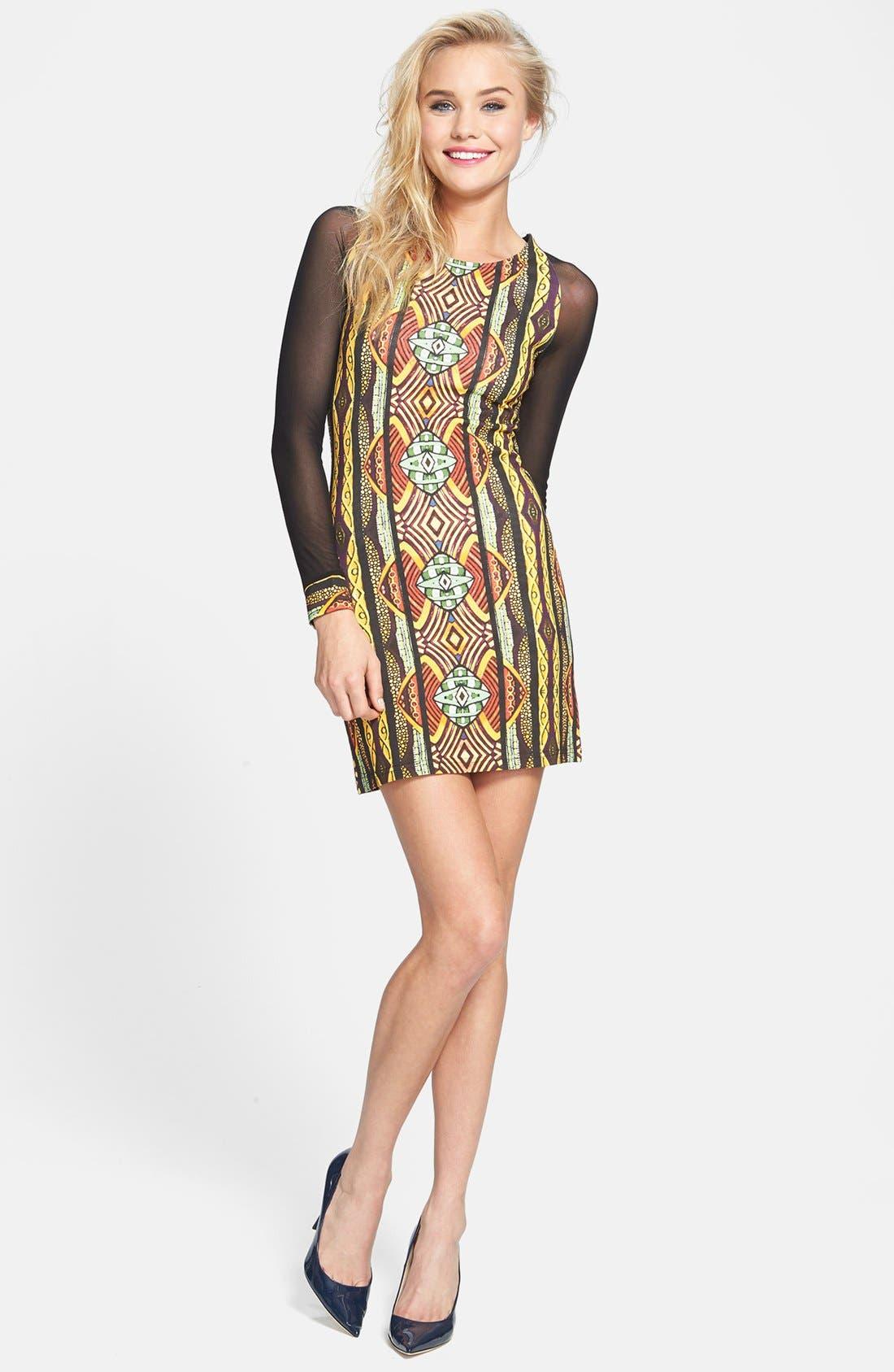 Alternate Image 1 Selected - MINKPINK 'Tiki Hut' Mesh Sleeve Print Body-Con Dress