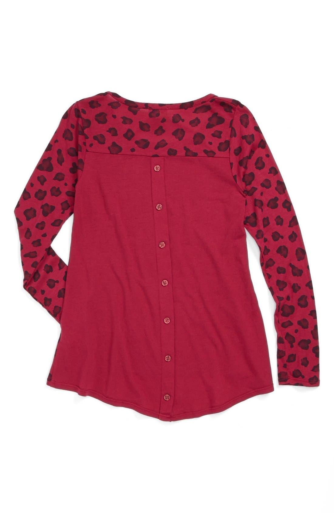 Alternate Image 2  - Splendid Leopard Print High/Low Top (Big Girls)