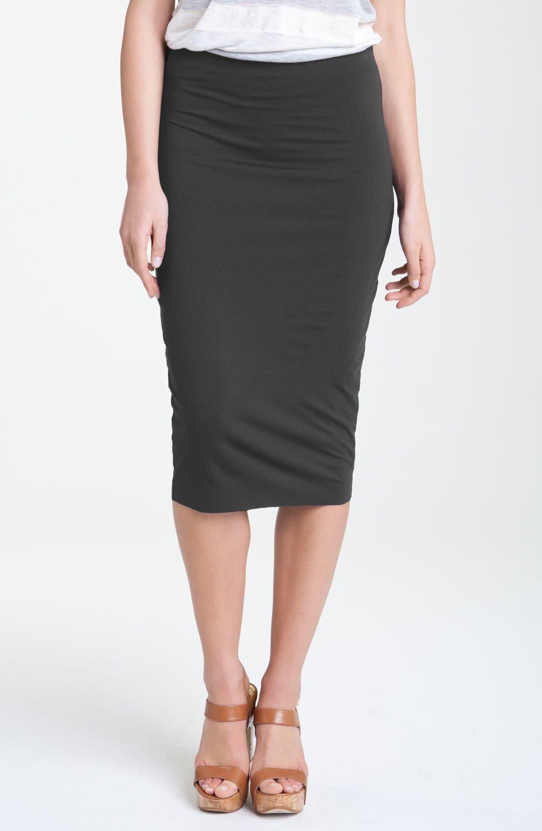 Main Image - Vince Camuto Stretch Knit Midi Tube Skirt (Petite)