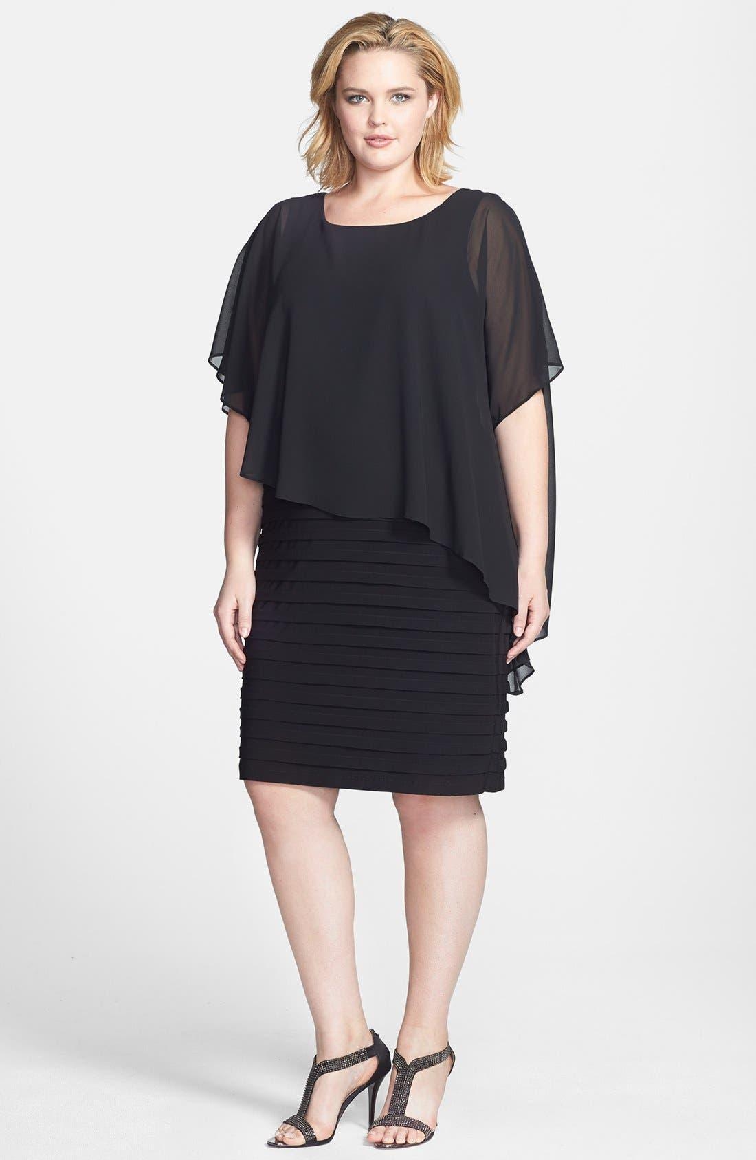 Alternate Image 1 Selected - Betsy & Adam Chiffon Overlay Shutter Pleat Sheath Dress (Plus Size)