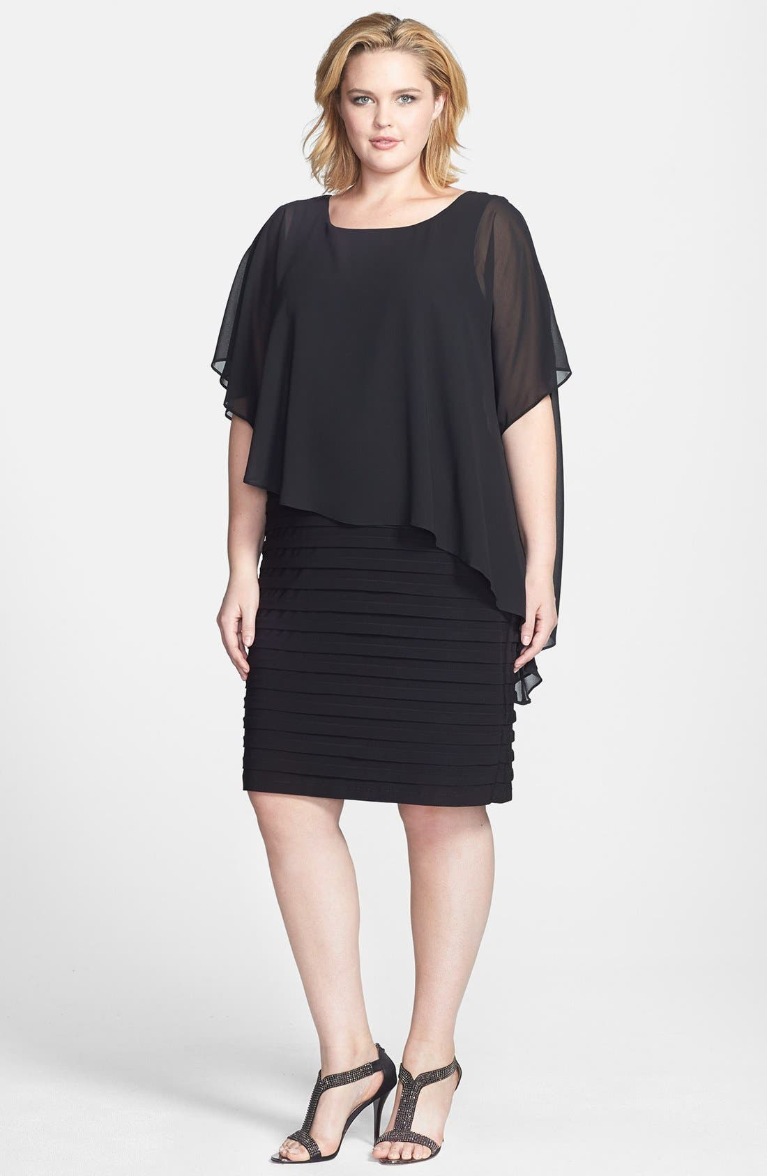 Main Image - Betsy & Adam Chiffon Overlay Shutter Pleat Sheath Dress (Plus Size)