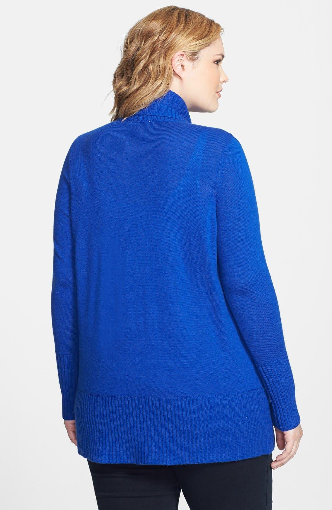 Alternate Image 2  - Caslon® Shawl Collar Wool & Cashmere Cardigan (Plus Size)
