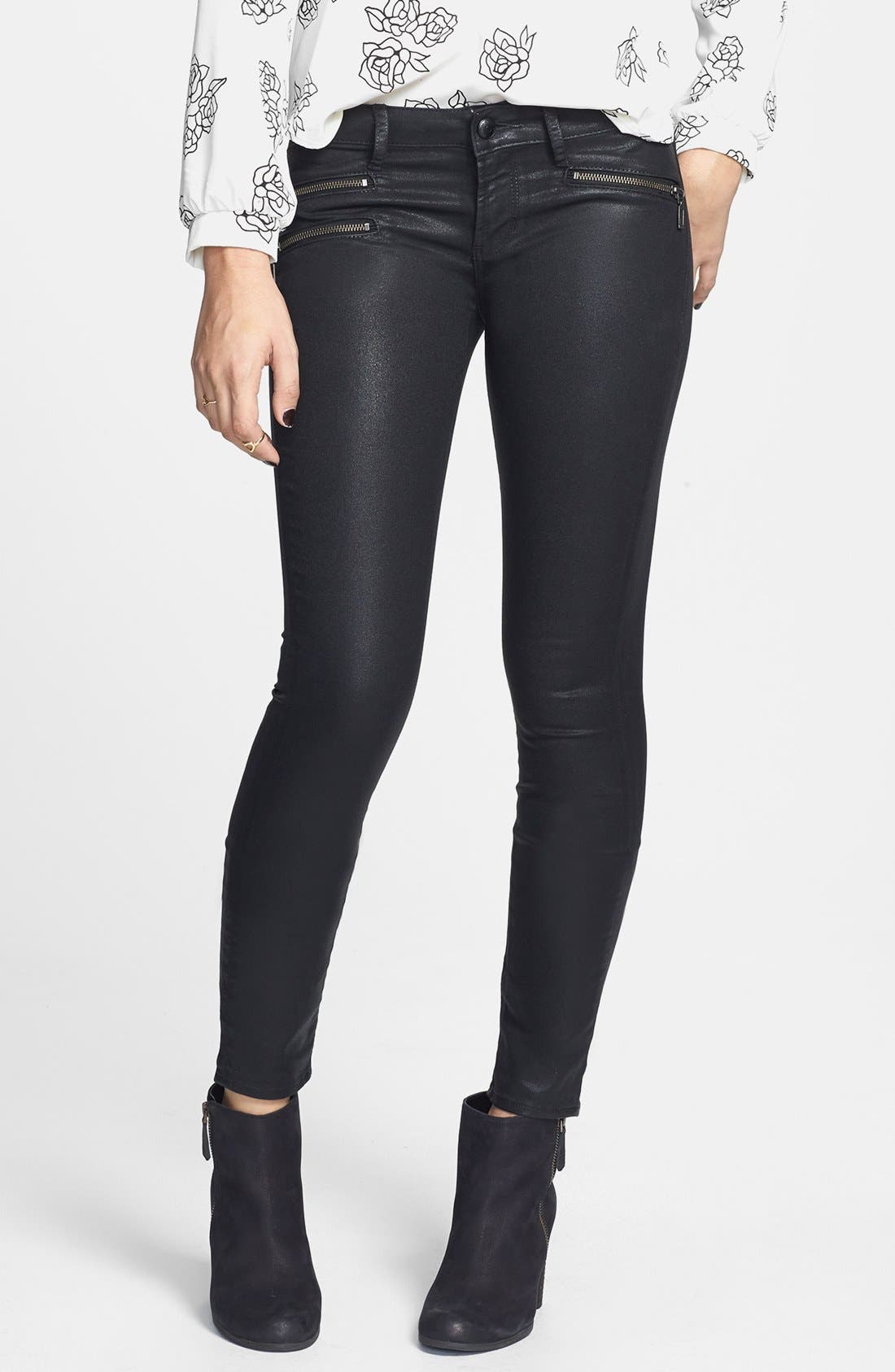Main Image - Articles of Society 'Mya' Zipper Detail Coated Skinny Jeans (Juniors) (Online Only)