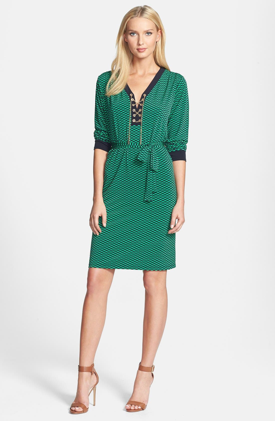 Alternate Image 1 Selected - MICHAEL Michael Kors Lace Up Belted Knit Dress (Regular & Petite)