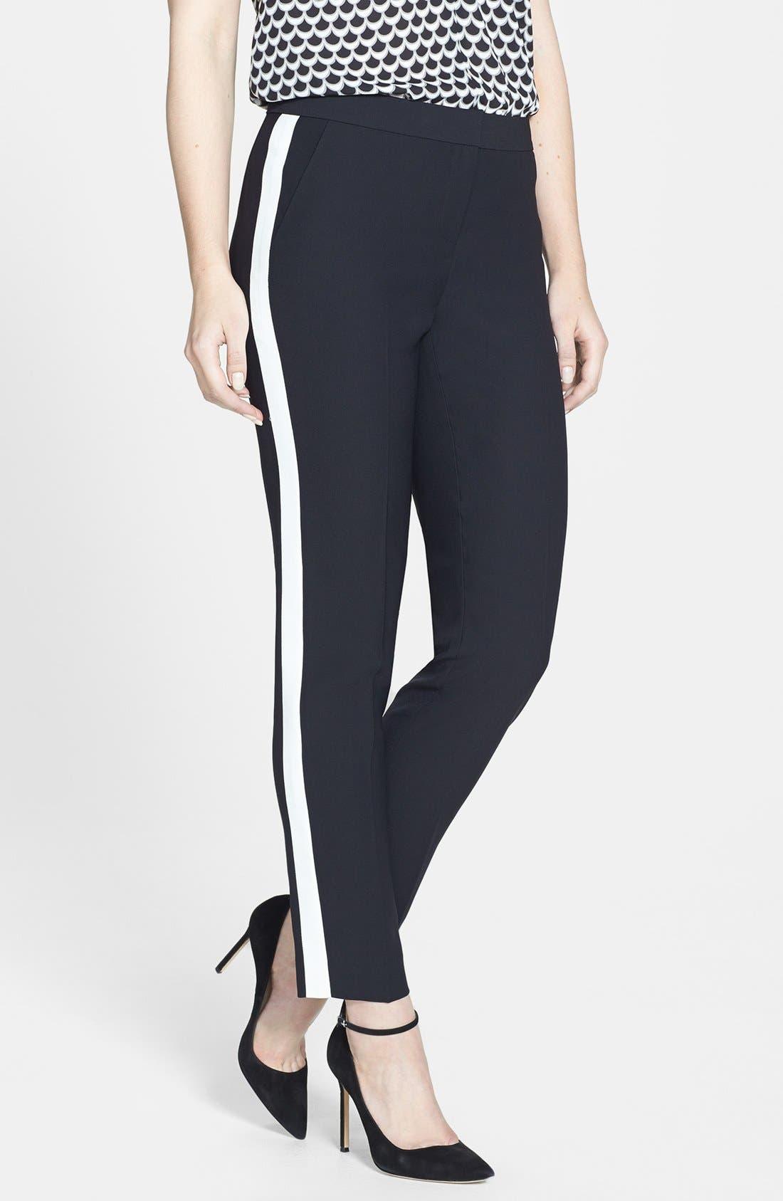 Alternate Image 1 Selected - Halogen® 'Quinn' Tuxedo Stripe Crepe Pants
