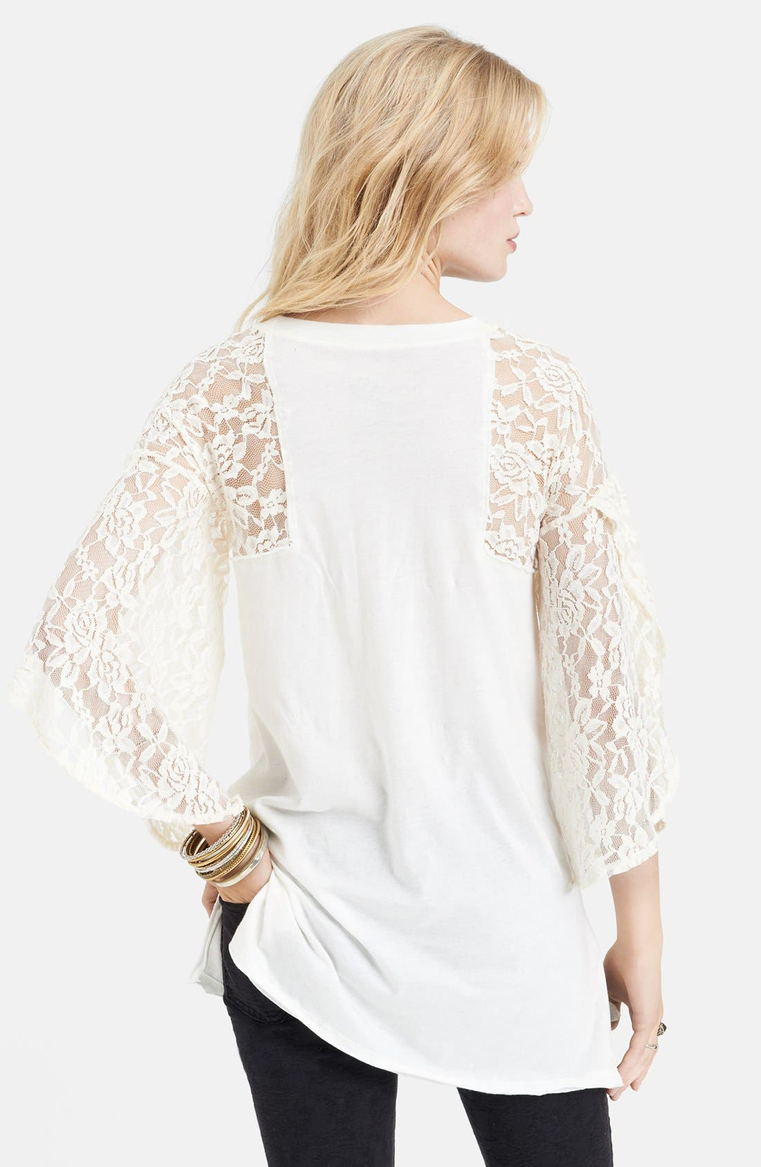 Alternate Image 2  - Free People 'Rock Me' Lace Sleeve Cotton Tee