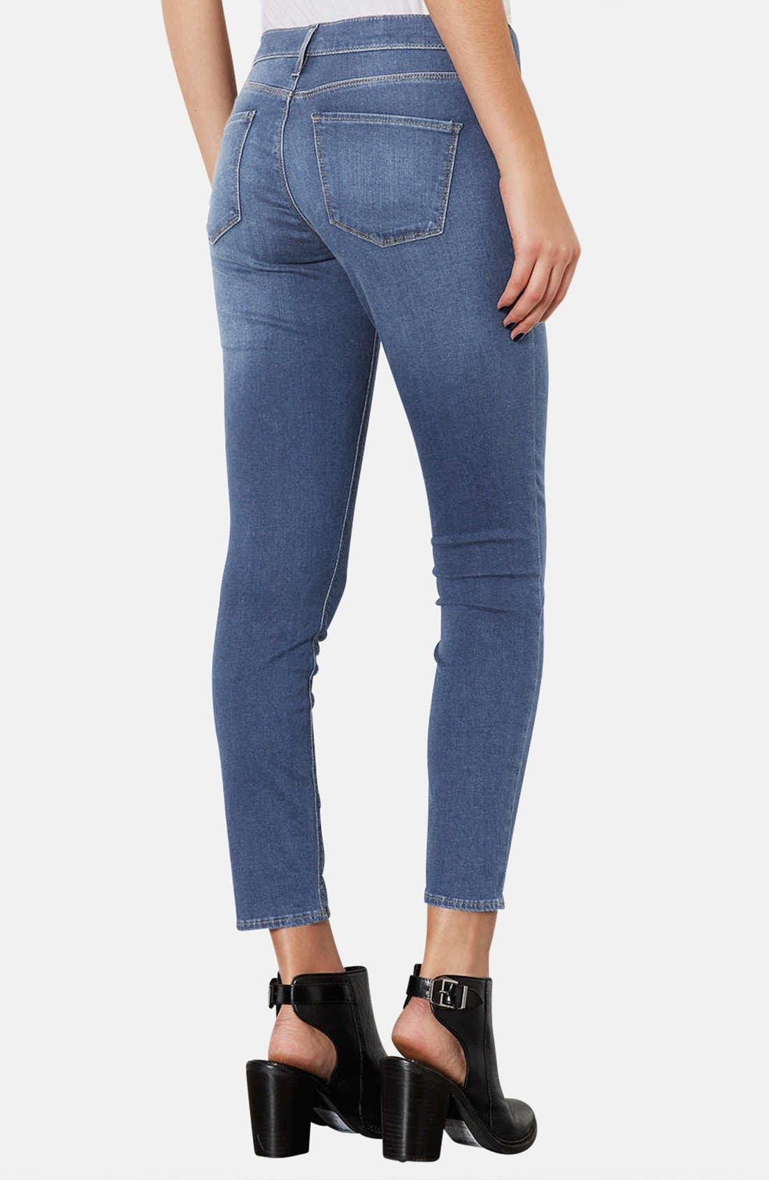 Alternate Image 2  - Topshop Moto 'Leigh' Skinny Maternity Jeans (Short)(Mid Stone)