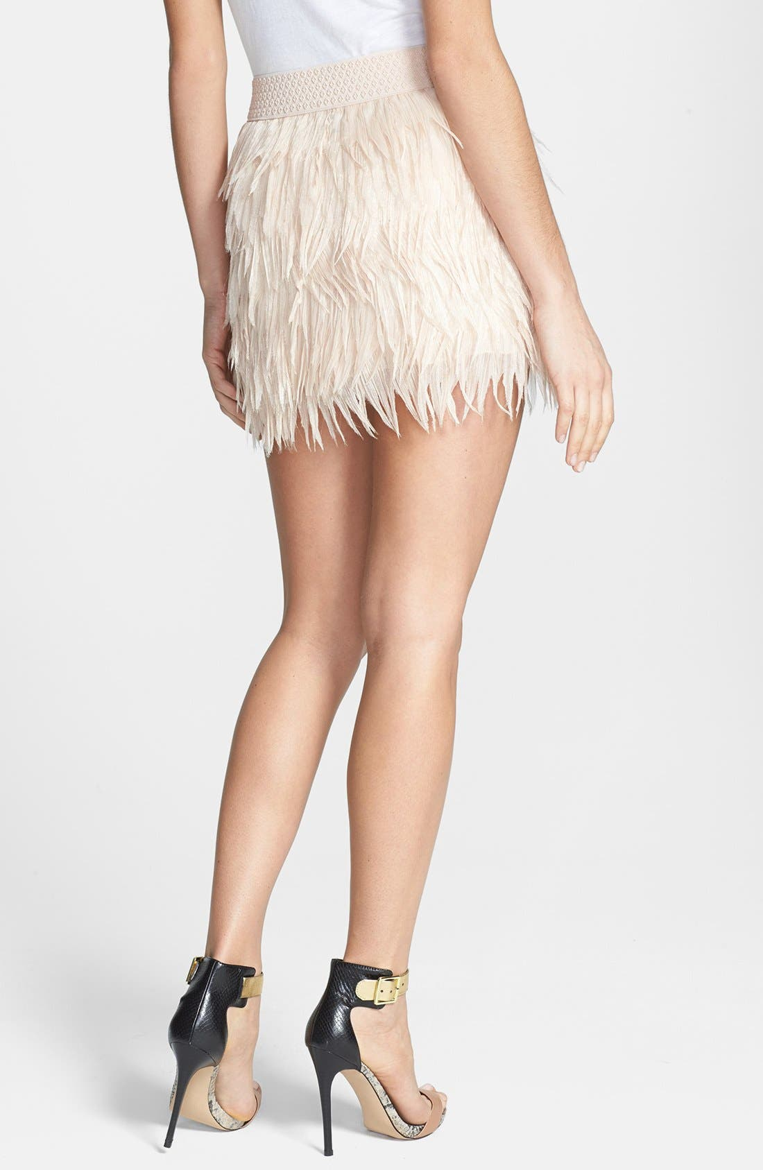 Alternate Image 2  - Press Faux Feather Miniskirt