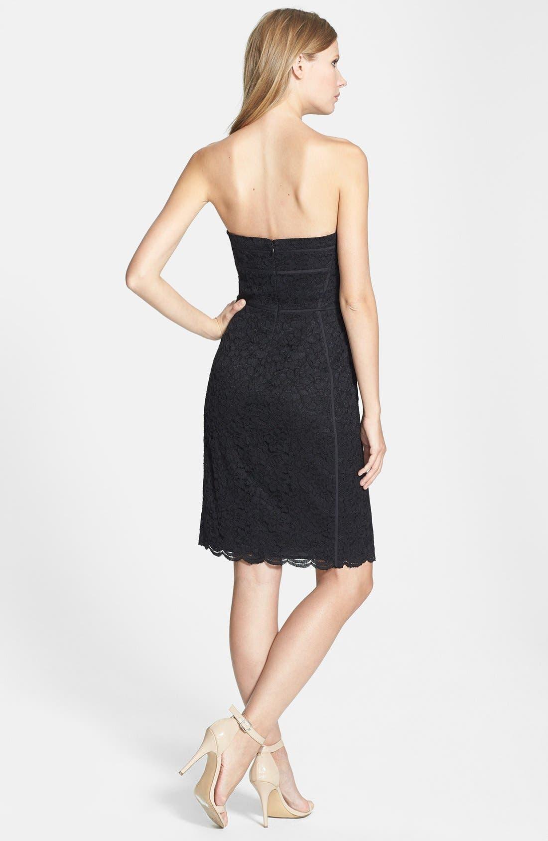 Alternate Image 2  - Diane von Furstenberg 'Bailey' Piped Lace Strapless Dress