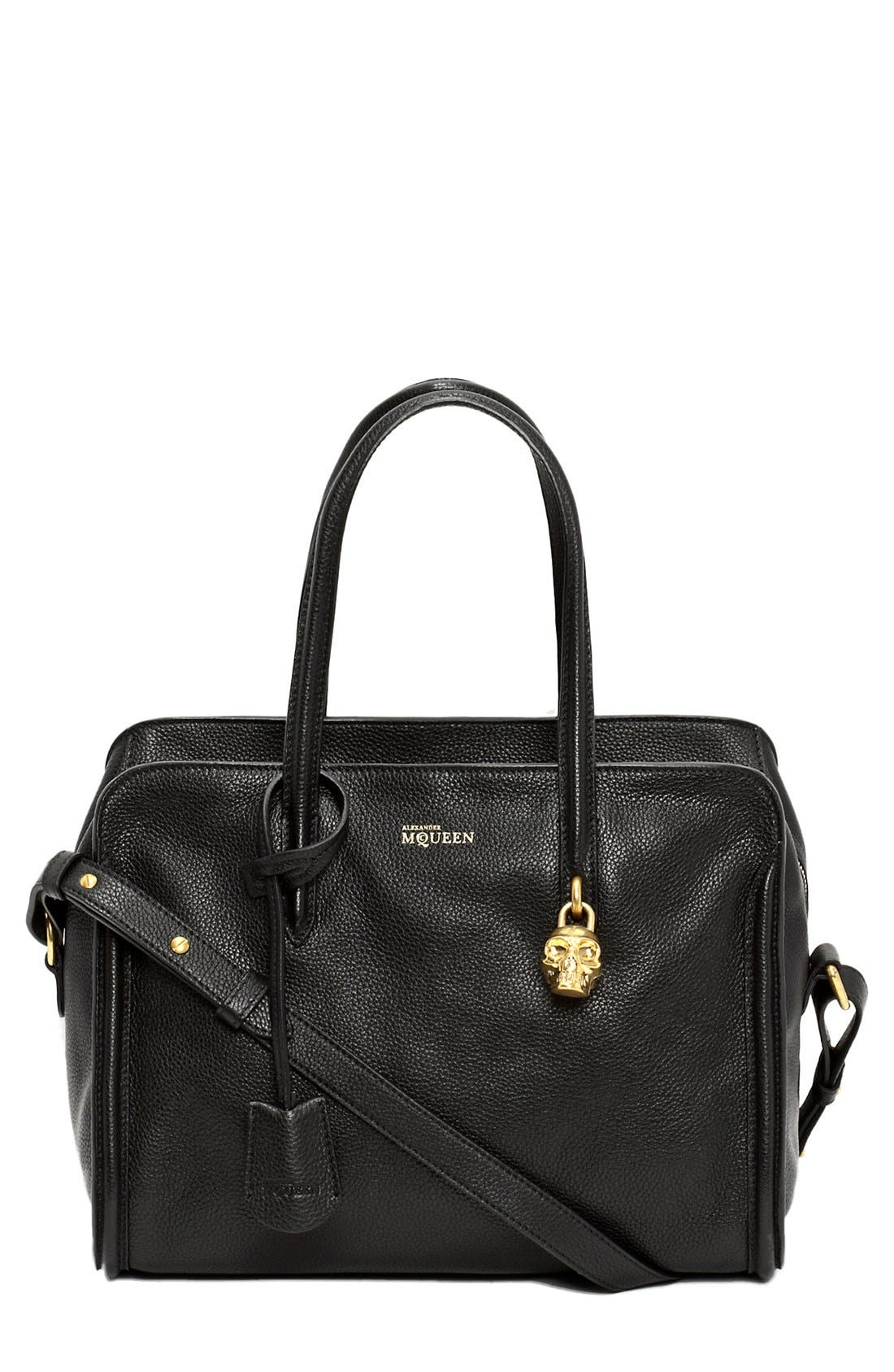 Alternate Image 1 Selected - Alexander McQueen 'Padlock - Small' Calfskin Duffel Bag