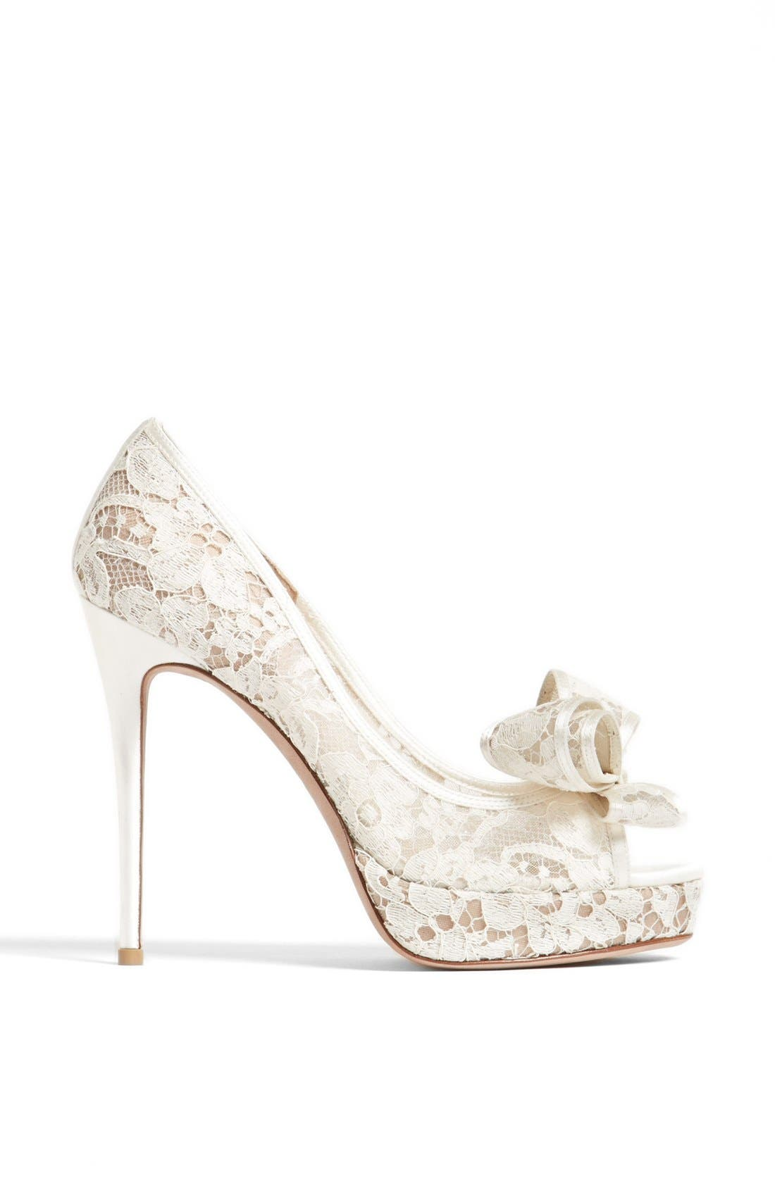 Alternate Image 4  - Valentino 'Lace Couture Bow' Open Toe Pump