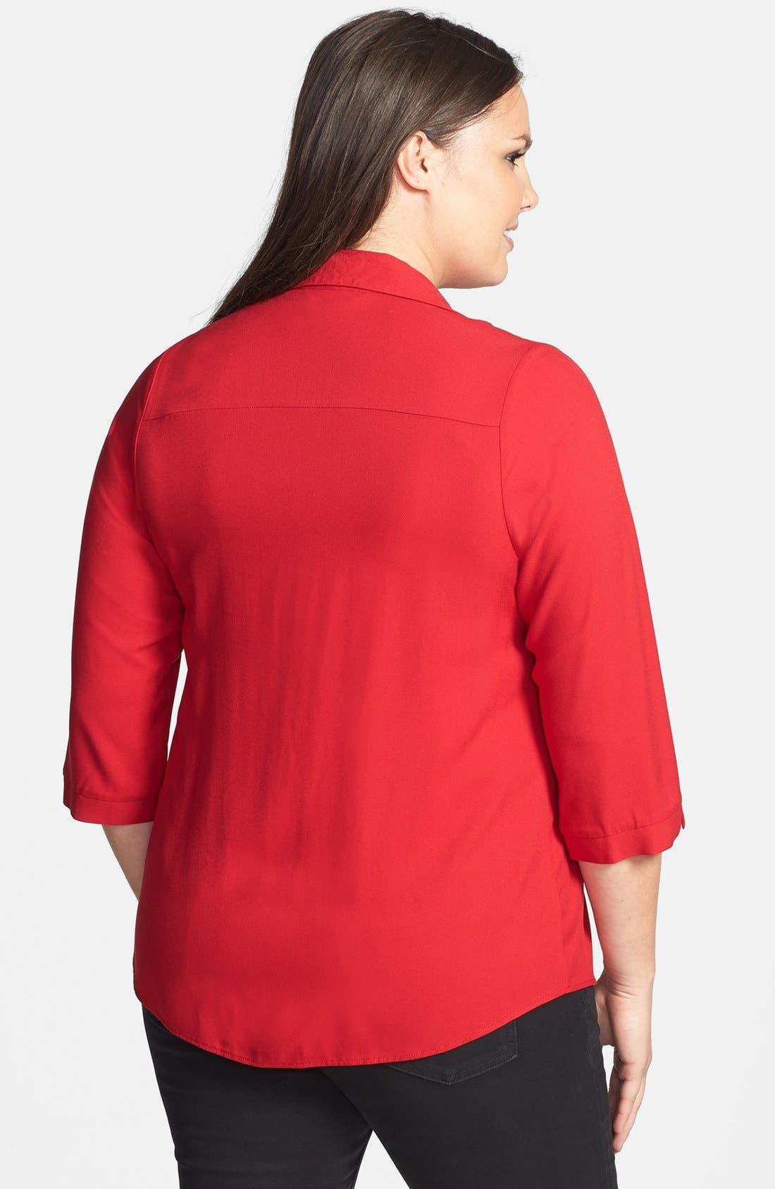 Alternate Image 2  - Evans Twill Pintucked Shirt (Plus Size)