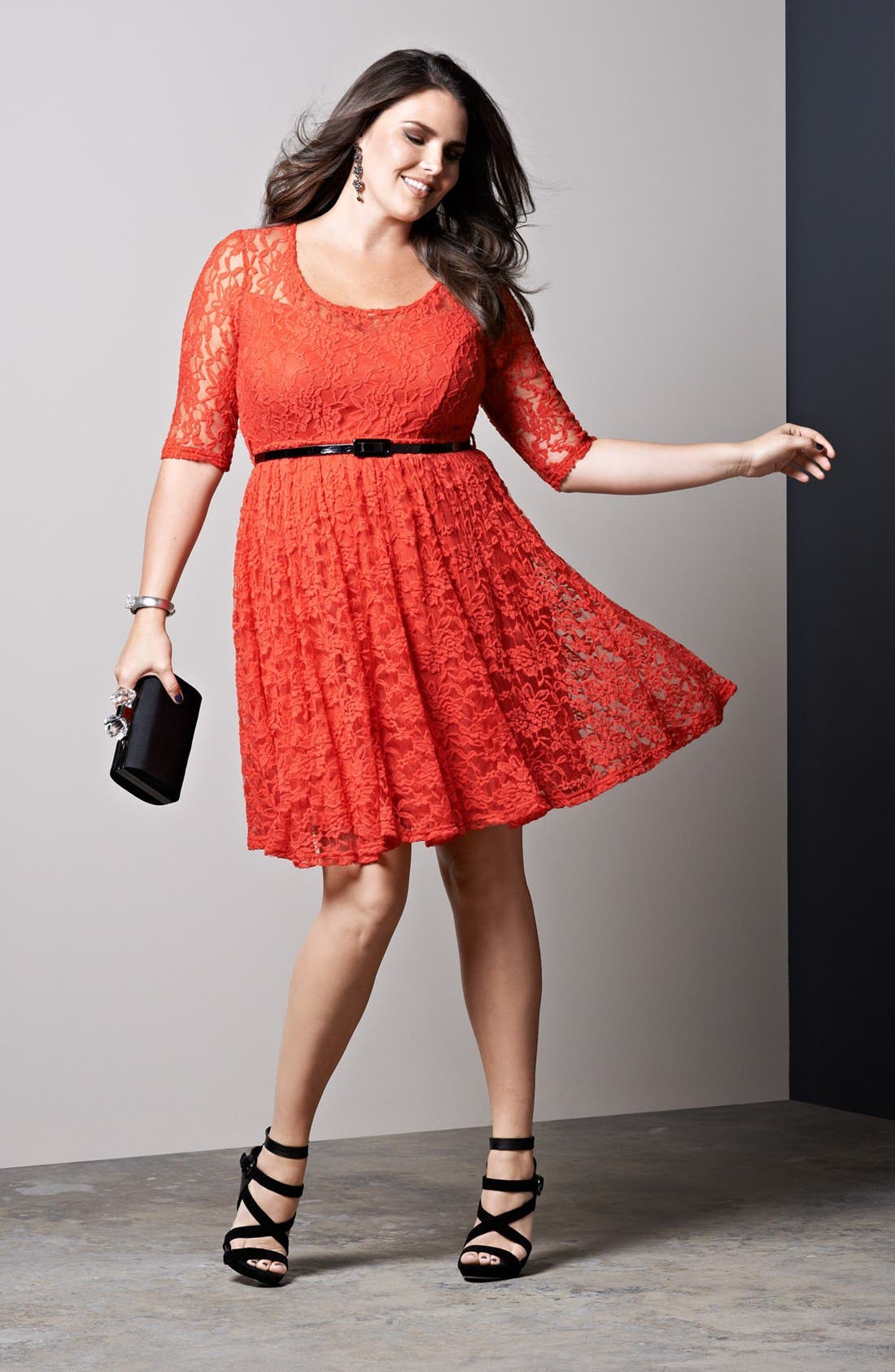 Alternate Image 5  - City Chic Belted Lace Fit & Flare Dress (Plus Size)