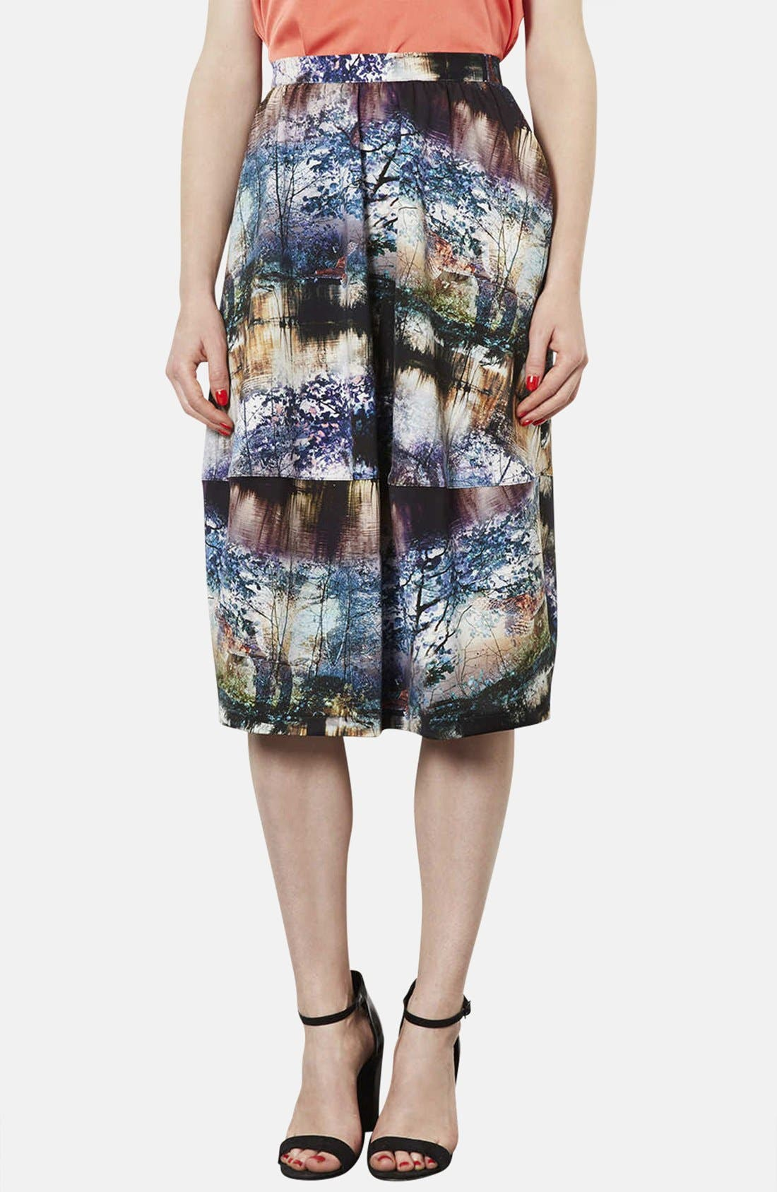 Main Image - Topshop Photorealistic Print Midi Skirt