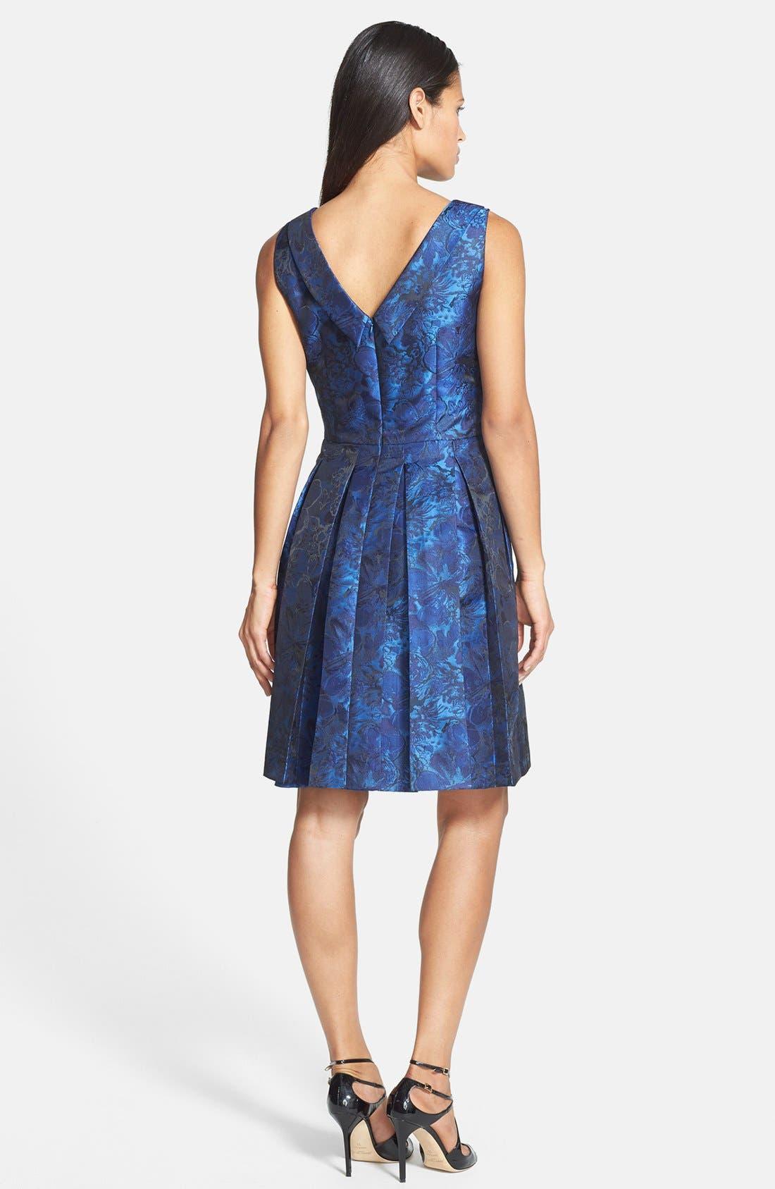 Alternate Image 2  - Tahari Pleat Jacquard Fit & Flare Dress