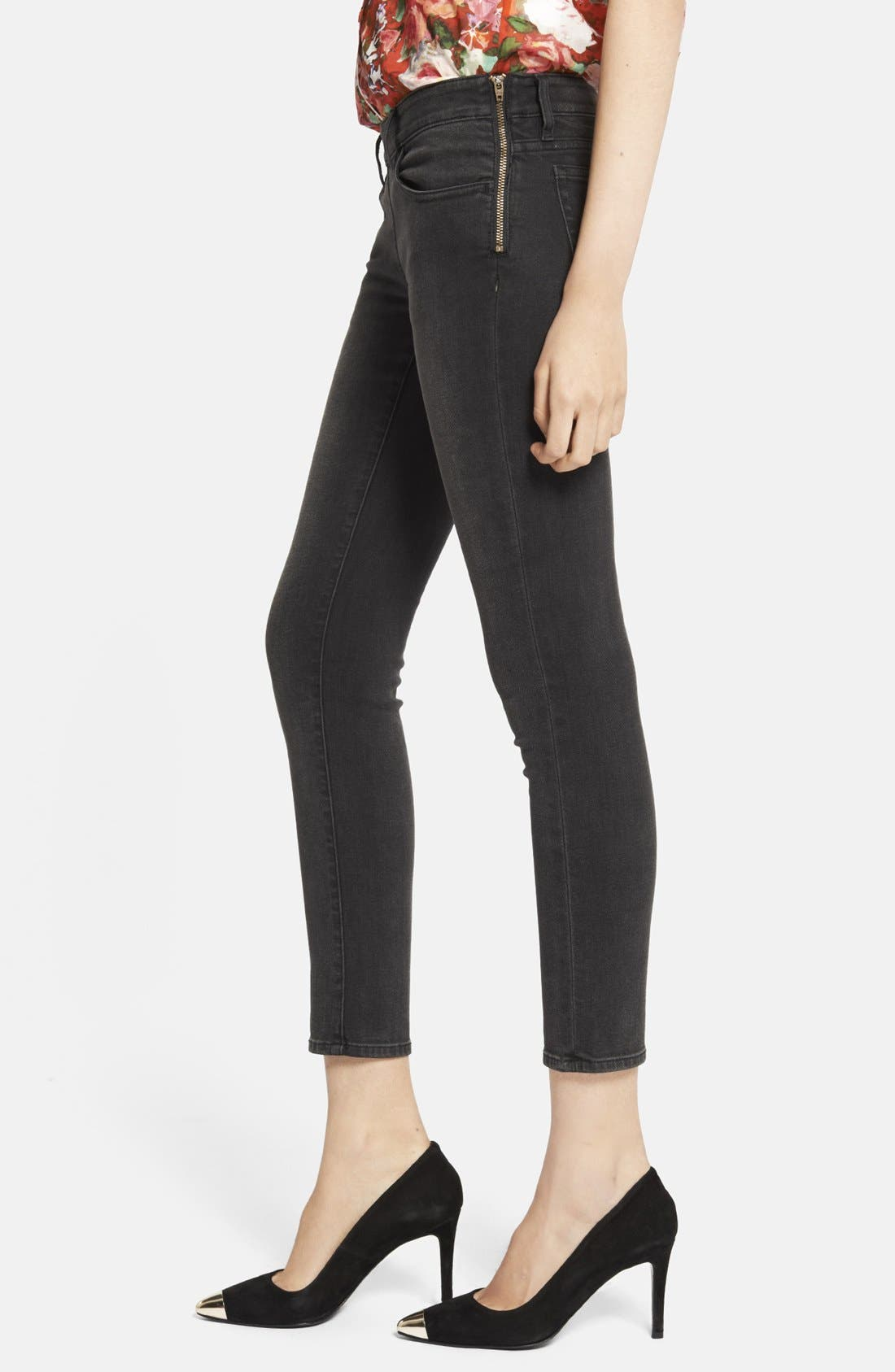 Alternate Image 3  - The Kooples Side Zip Crop Skinny Jeans