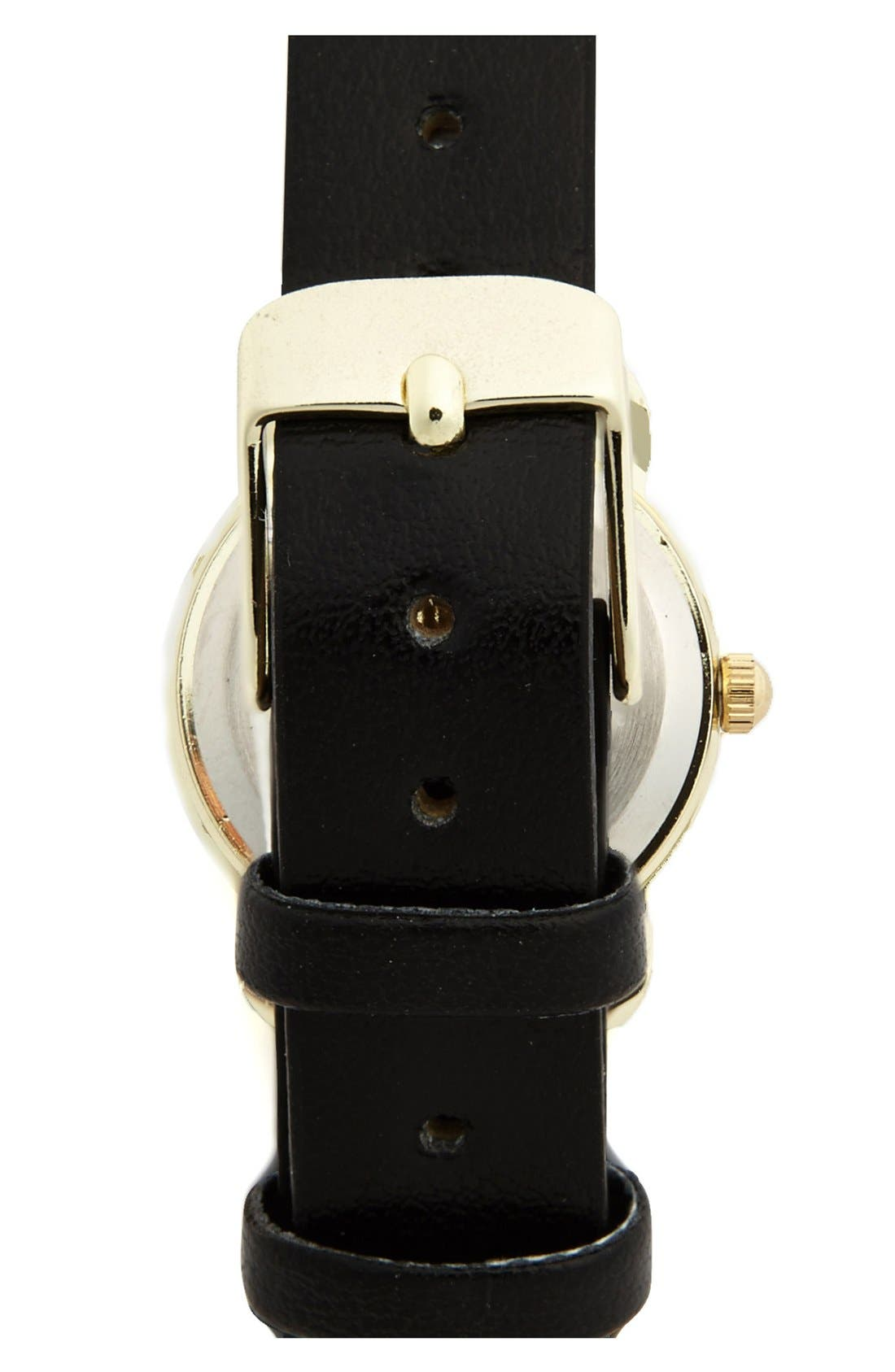 Alternate Image 2  - Titanium 'Basic' Faux Leather Strap Watch, 22mm (Juniors) (Online Only)