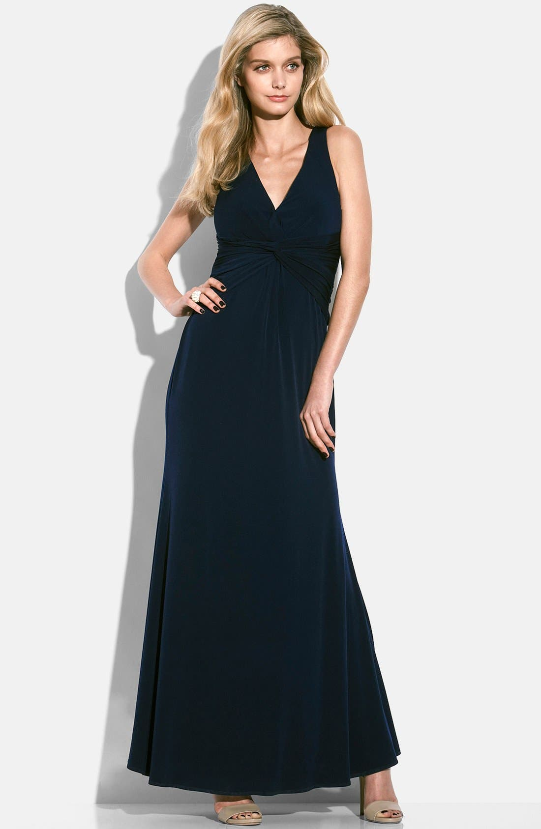 Alternate Image 4  - Laundry by Shelli Segal Knotted Jersey Cross Back Gown