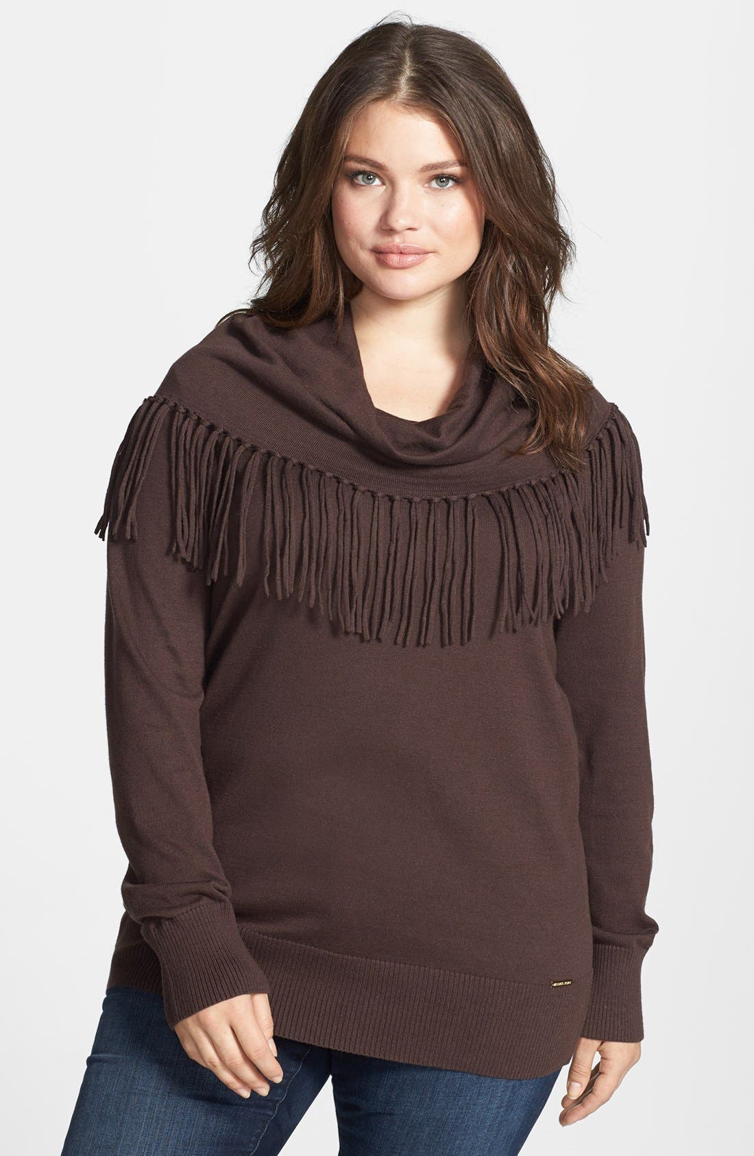 Alternate Image 1 Selected - MICHAEL Michael Kors Fringed Cowl Neck Sweater (Plus Size)