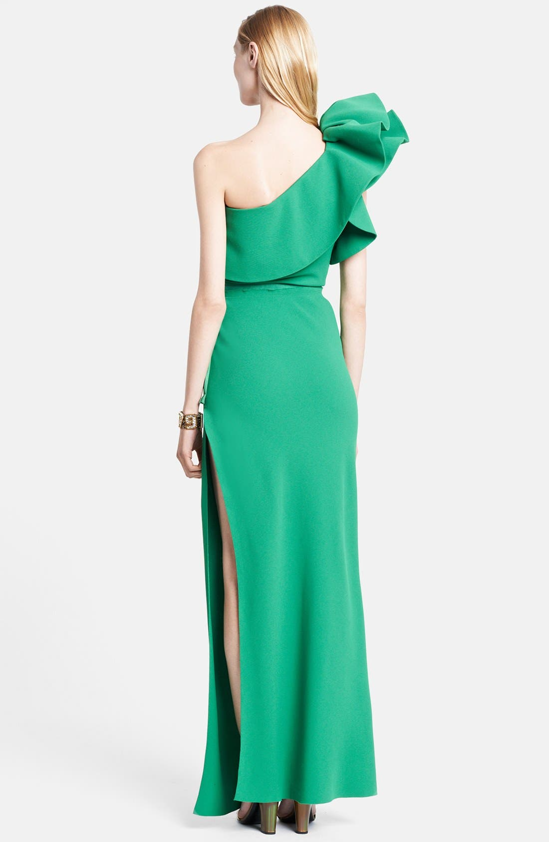 Alternate Image 2  - Lanvin Ruffle Detail One-Shoulder Gown