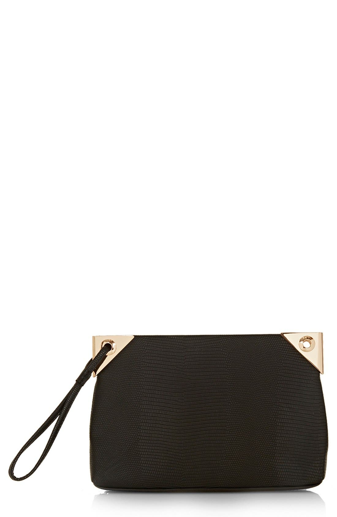 Main Image - Topshop 'Hinge' Lizard Embossed Clutch