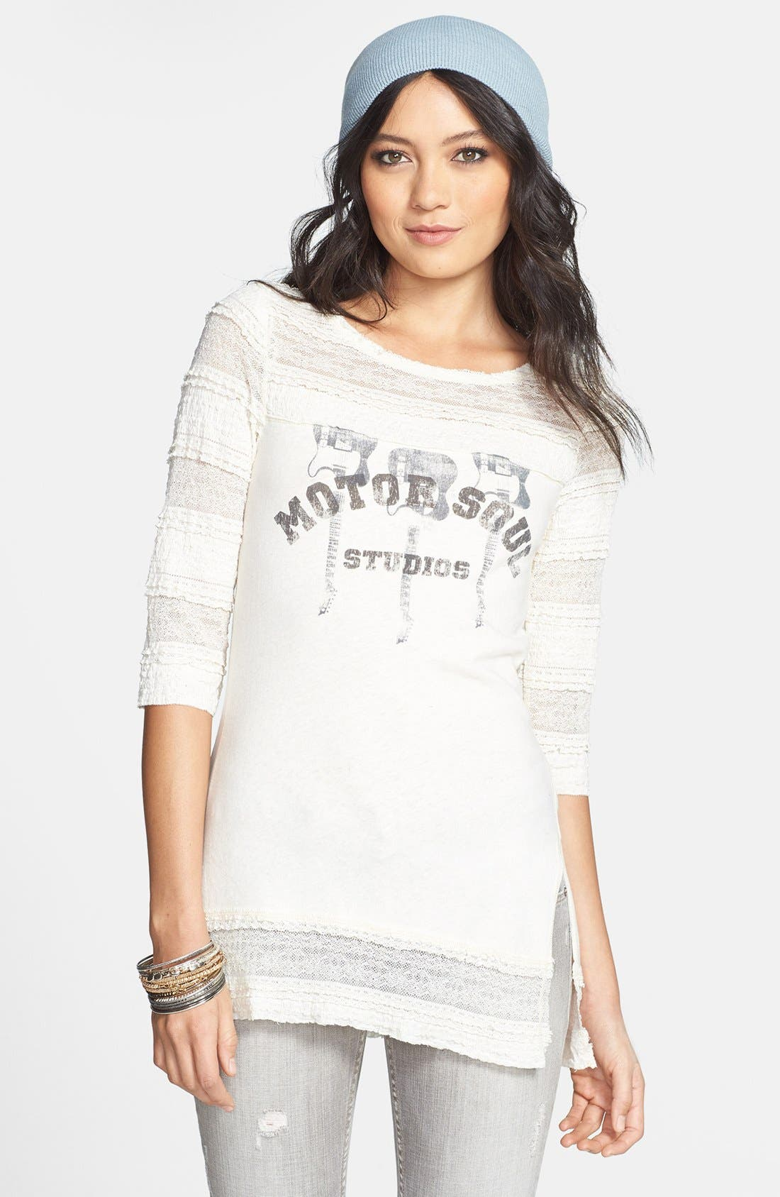 Alternate Image 1 Selected - Free People 'Holiday' Ruffled Graphic Tee