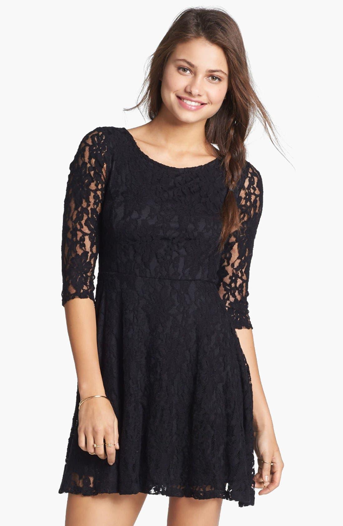 Main Image - Lush Three Quarter Sleeve Lace Skater Dress (Juniors)