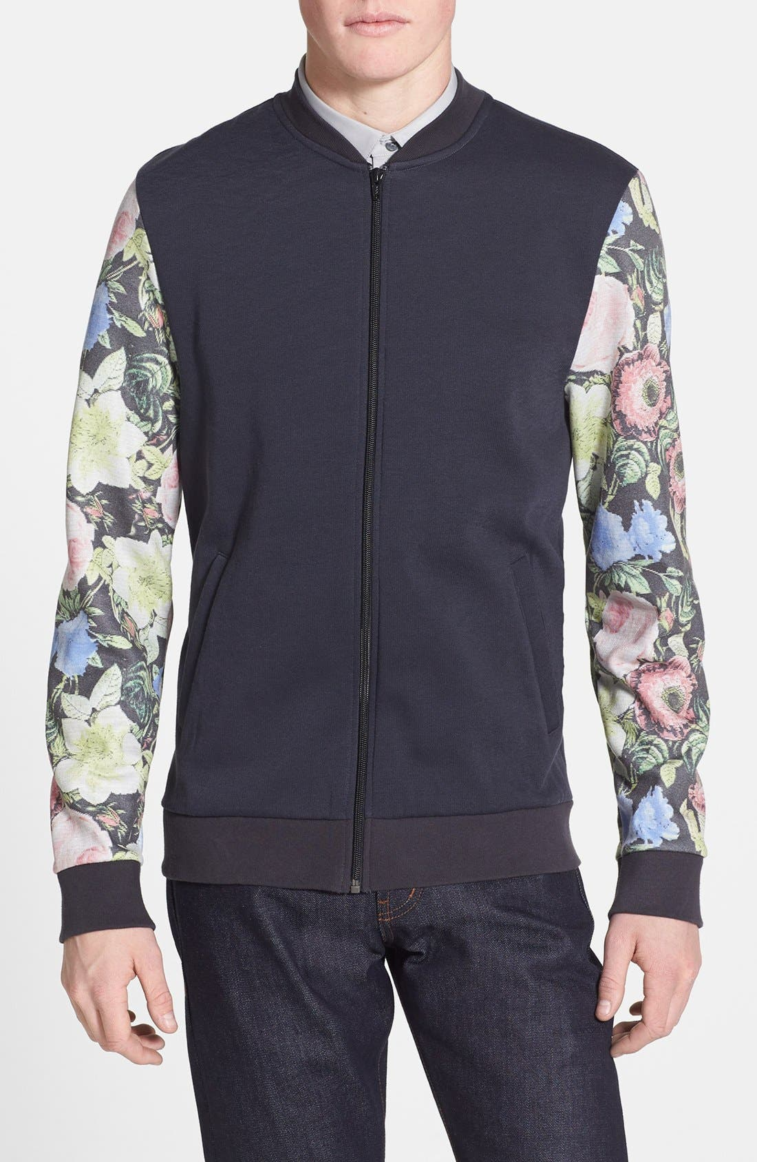 Alternate Image 1 Selected - Topman Floral Sleeve Print Jersey Bomber Jacket