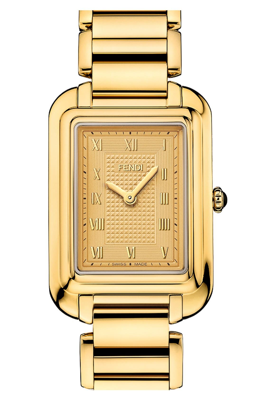 Alternate Image 1 Selected - Fendi 'Classico' Rectangular Bracelet Watch, 25mm x 36mm