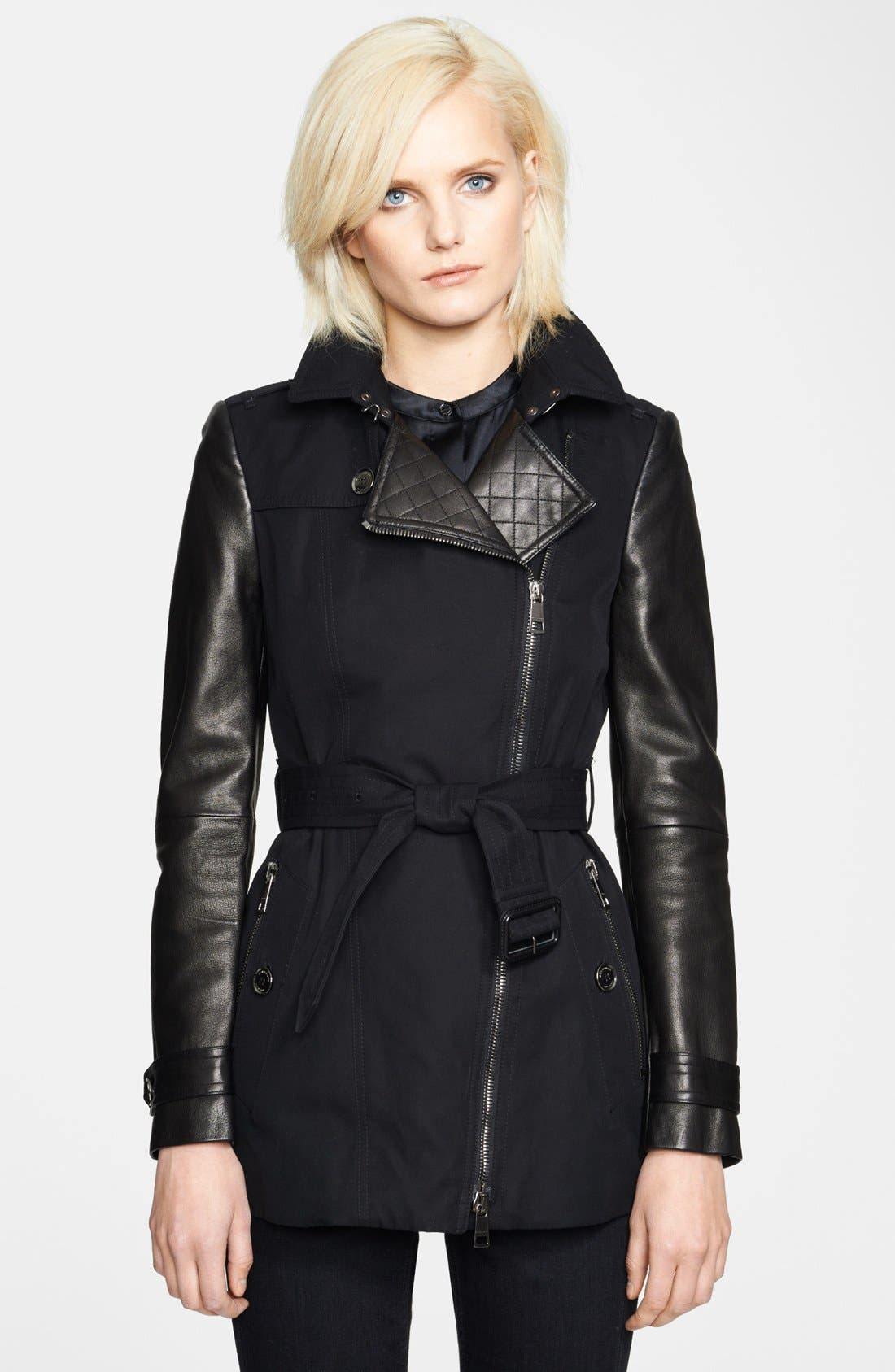 Main Image - Burberry London Asymmetrical Zip Leather Accent Trench Coat