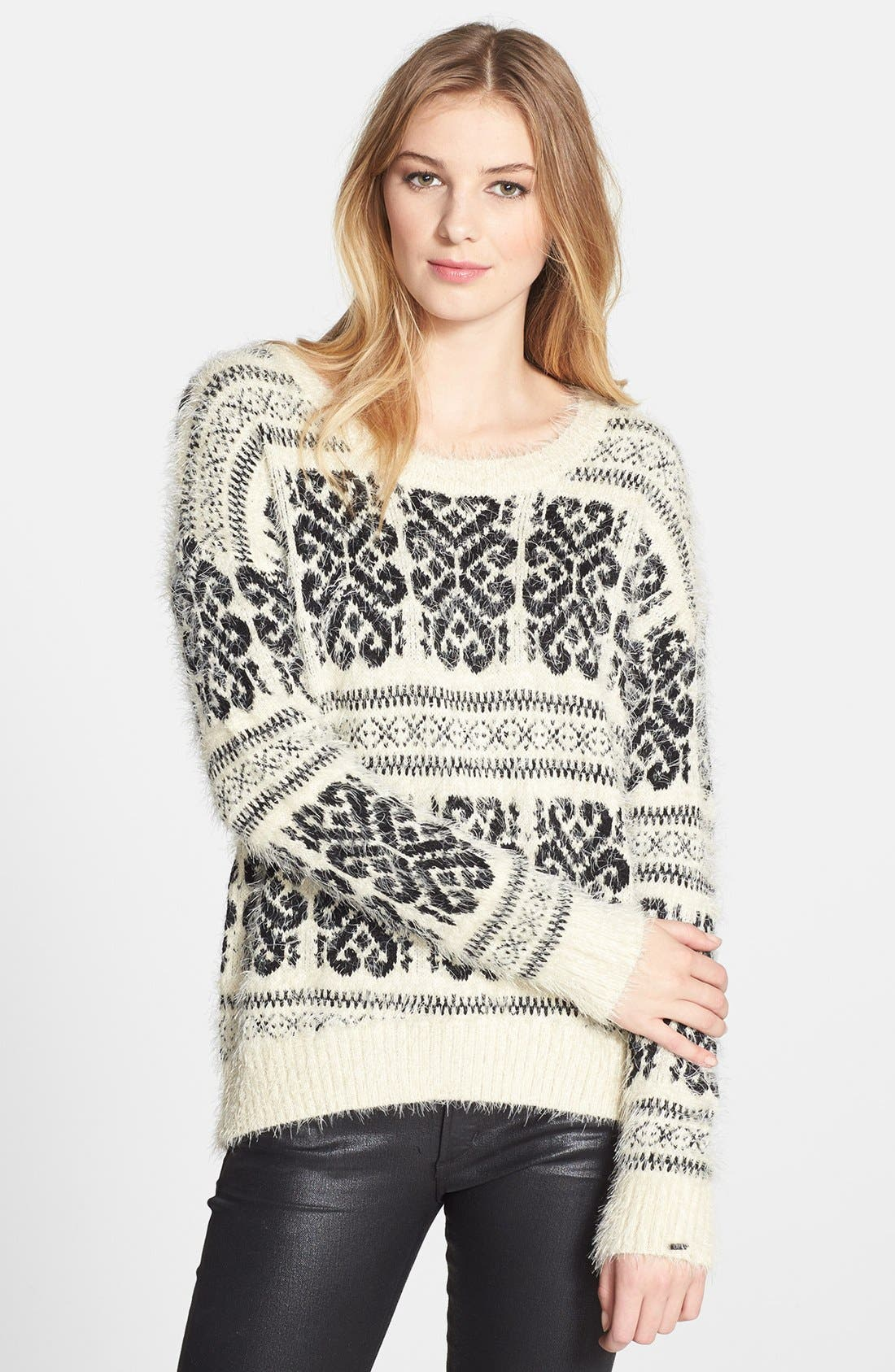 Main Image - Dex Patterned Fuzzy High/Low Sweater