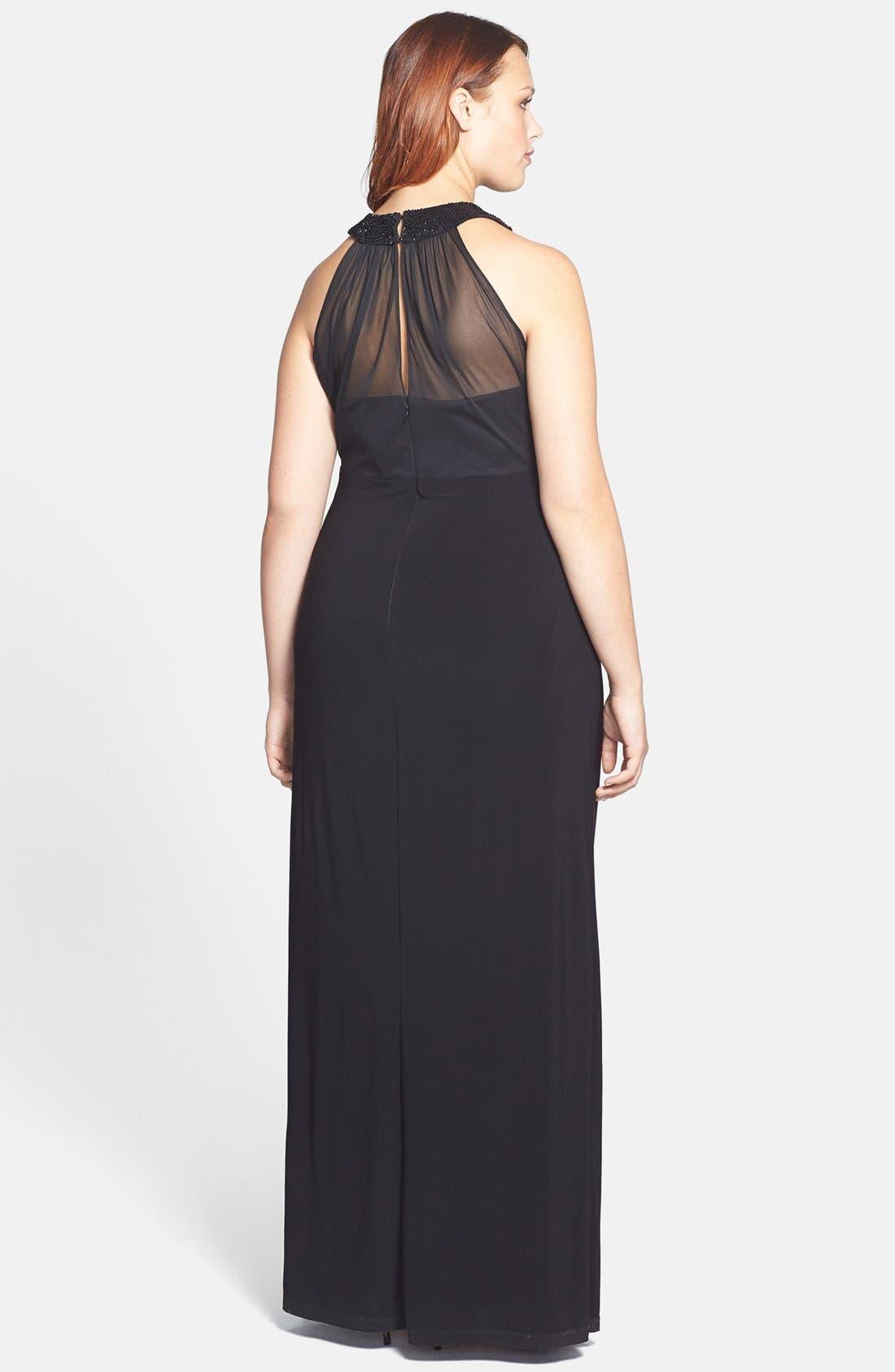 Alternate Image 2  - Xscape Long Stretch Knit Dress (Plus Size)