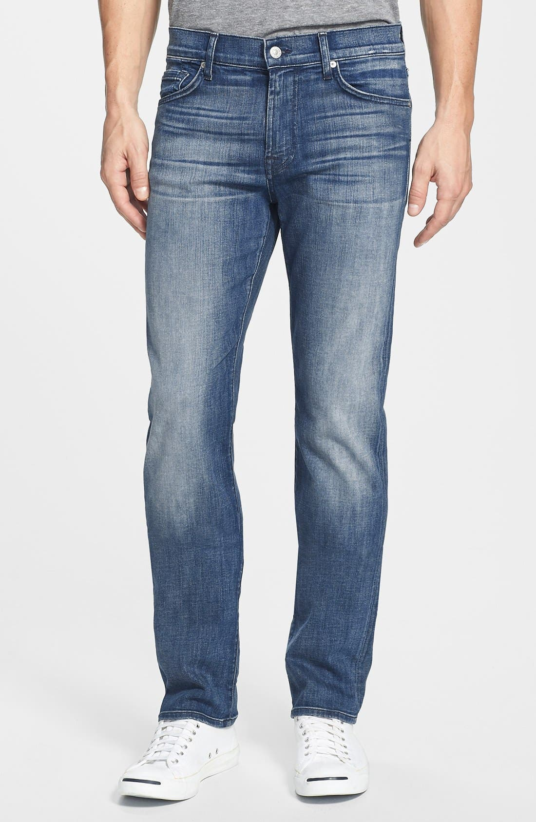 Alternate Image 1 Selected - 7 For All Mankind® 'Slimmy - Luxe Performance' Slim Fit Jeans (Nakitta Blue)