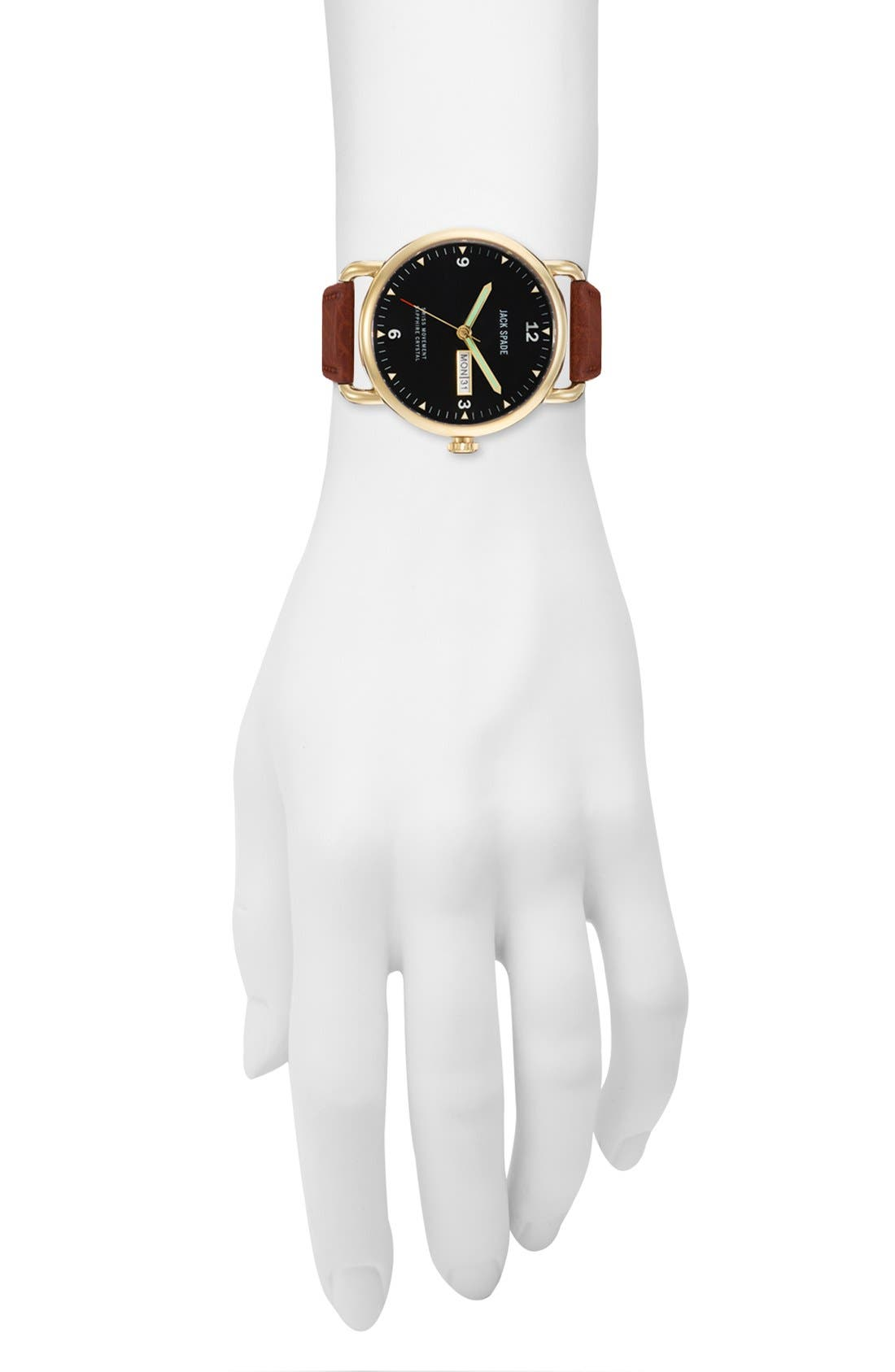 Alternate Image 3  - Jack Spade 'Buckner' Leather Strap Watch, 42mm