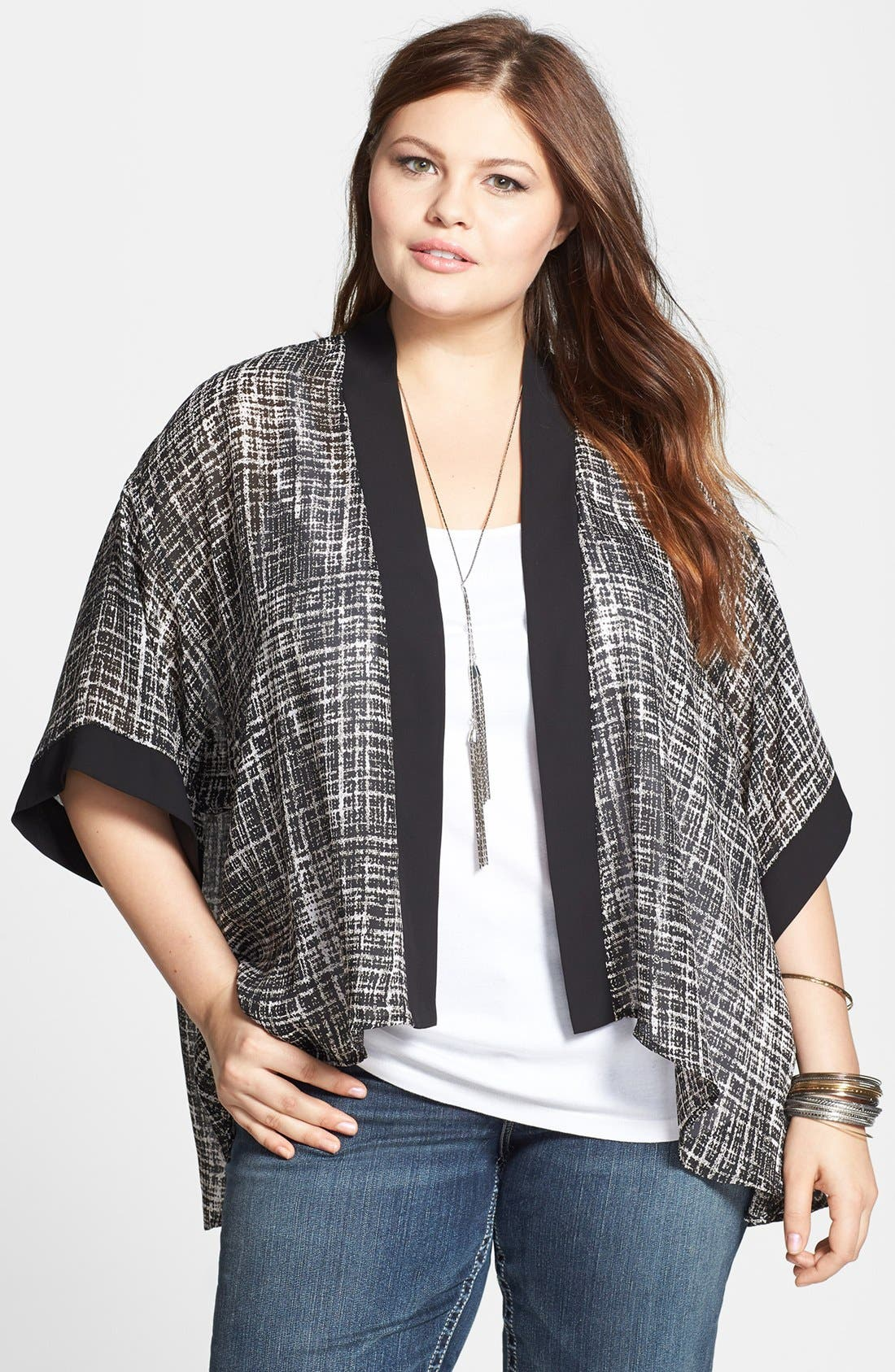 Main Image - Soprano Print Woven High/Low Cardigan (Plus Size)