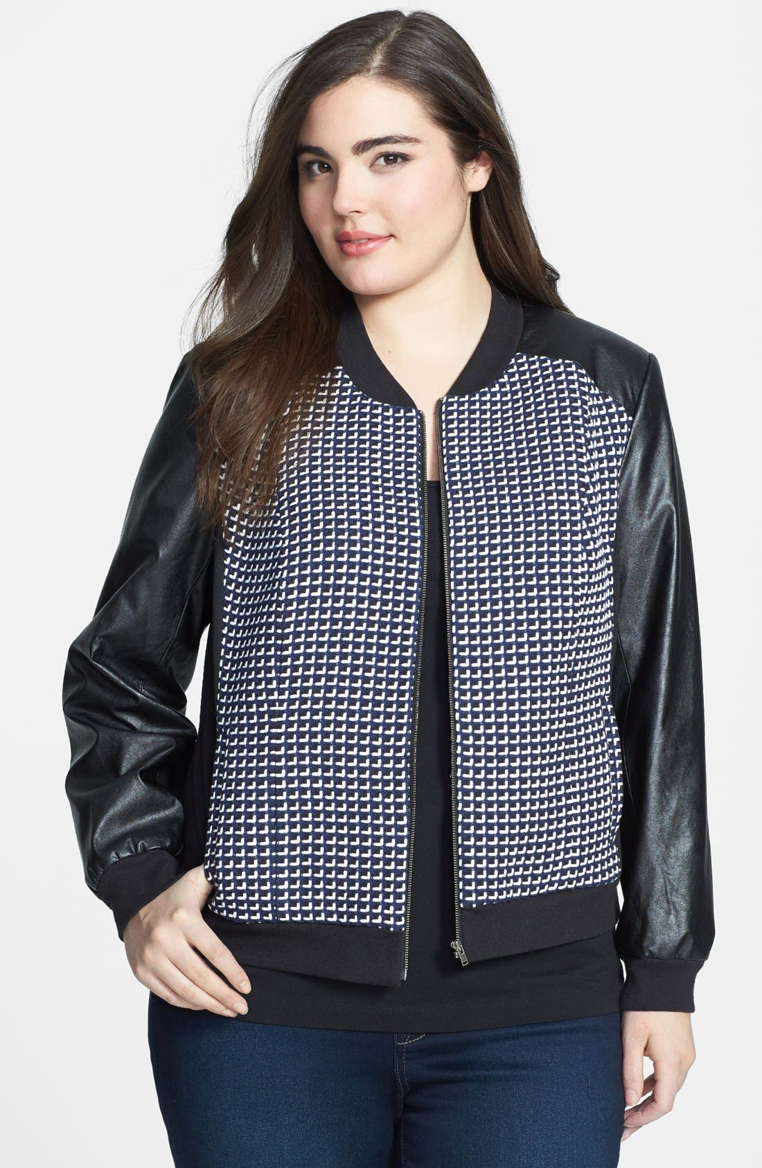 Alternate Image 1 Selected - Sejour 'Costal' Tweed & Faux Leather Bomber Jacket (Plus Size)