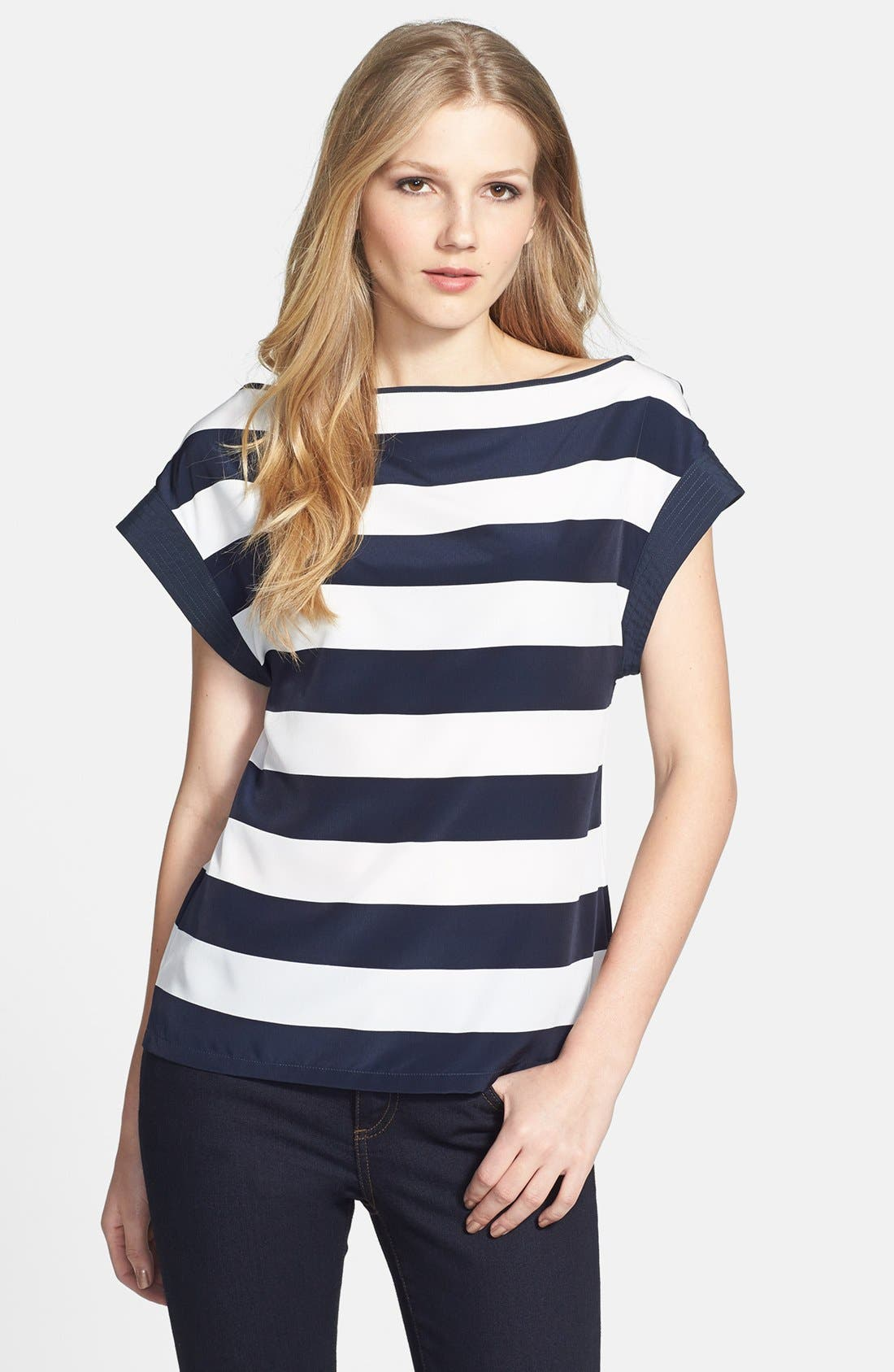 Main Image - Vince Camuto 'Yacht Stripe' Boatneck Blouse (Regular & Petite)