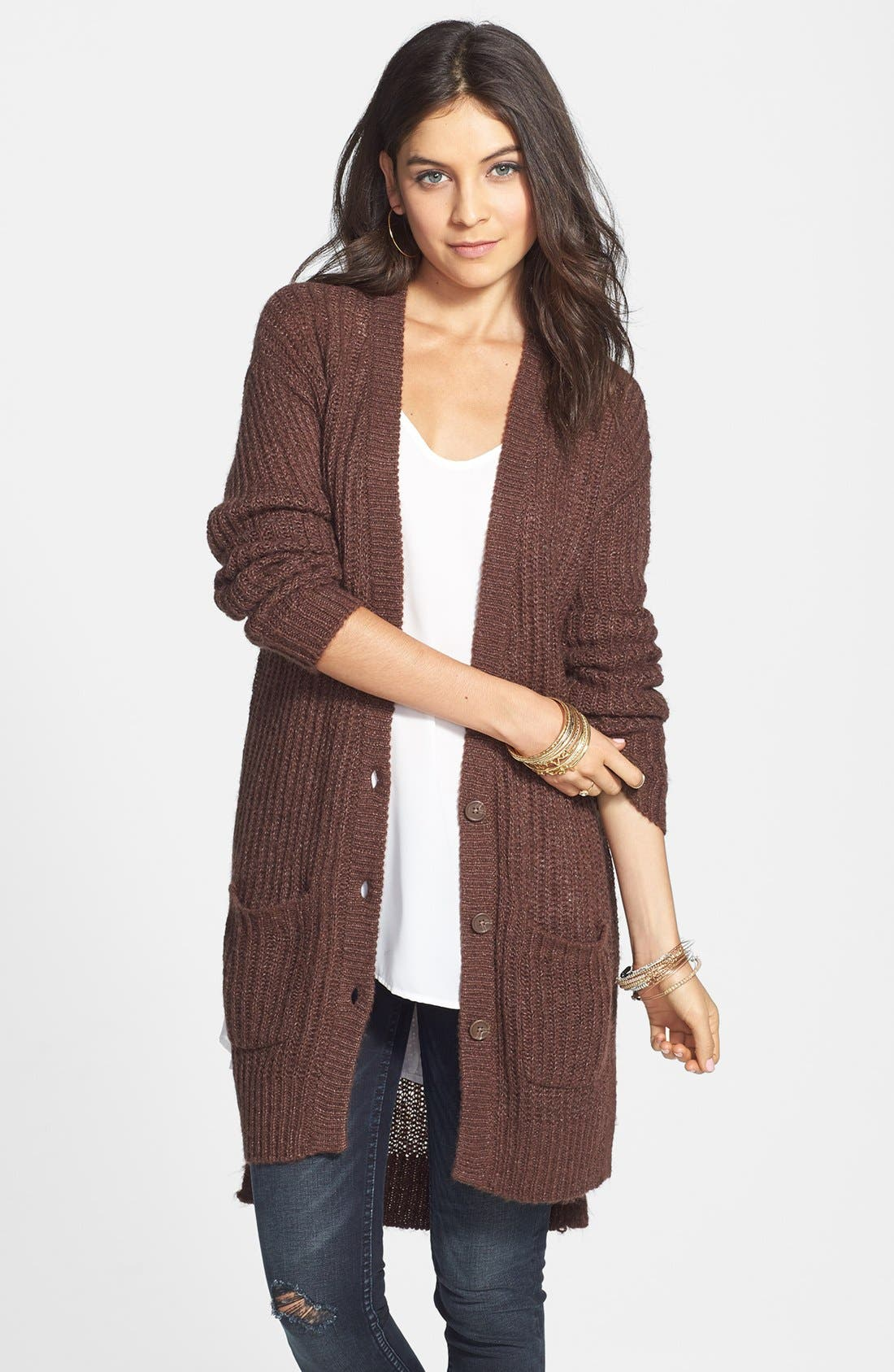 Alternate Image 1 Selected - Rubbish® Rib Knit Tunic Cardigan (Juniors)