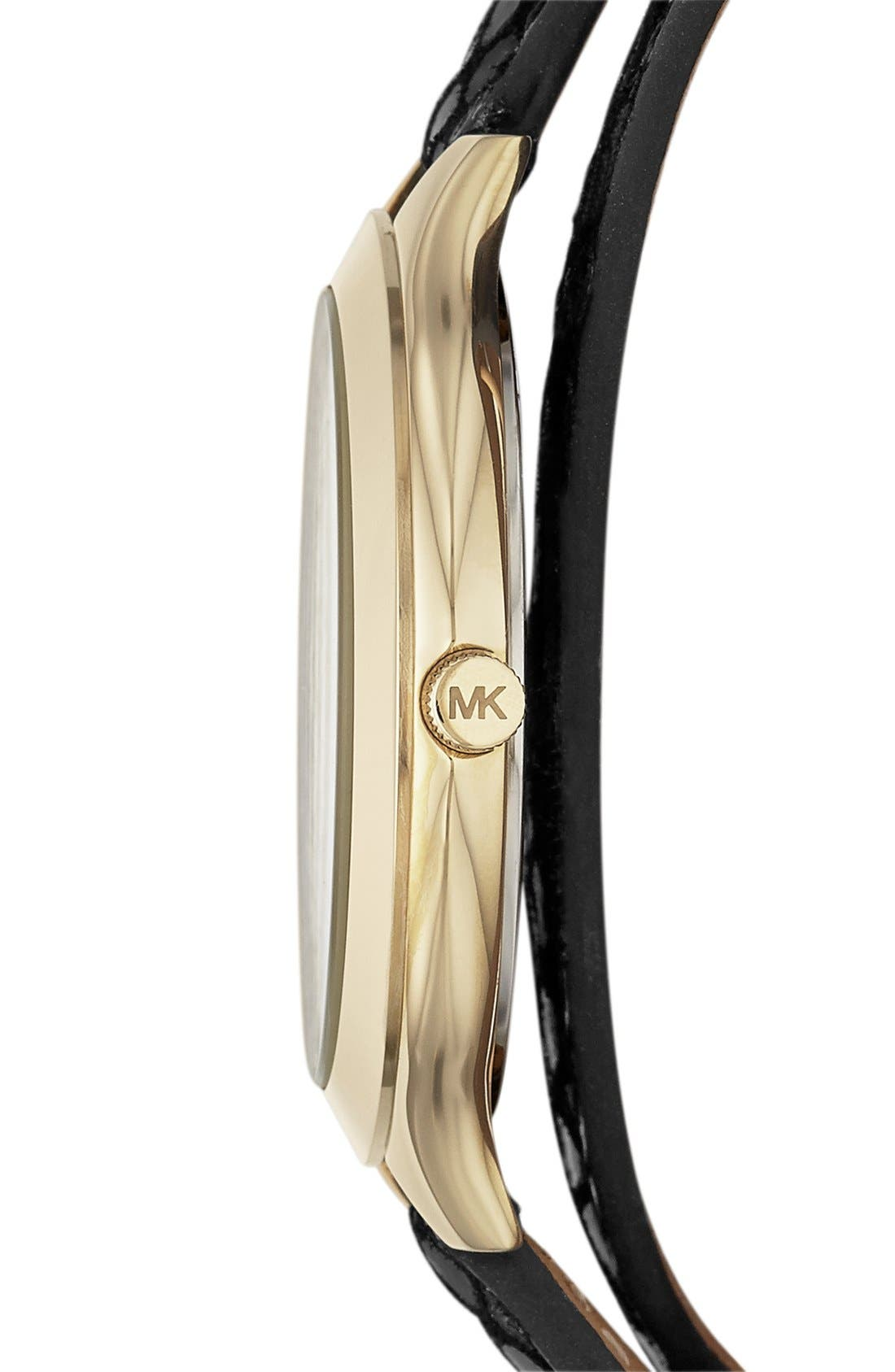 Alternate Image 3  - Michael Kors 'Slim Runway' Embossed Leather Strap Watch, 42mm