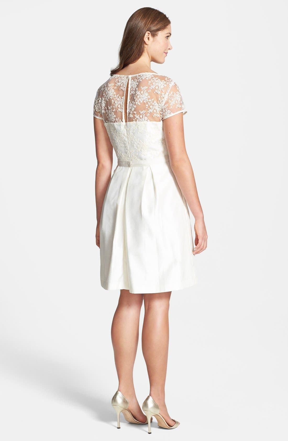Alternate Image 2  - Taylor Dresses Lace Bodice Shantung Fit & Flare Dress