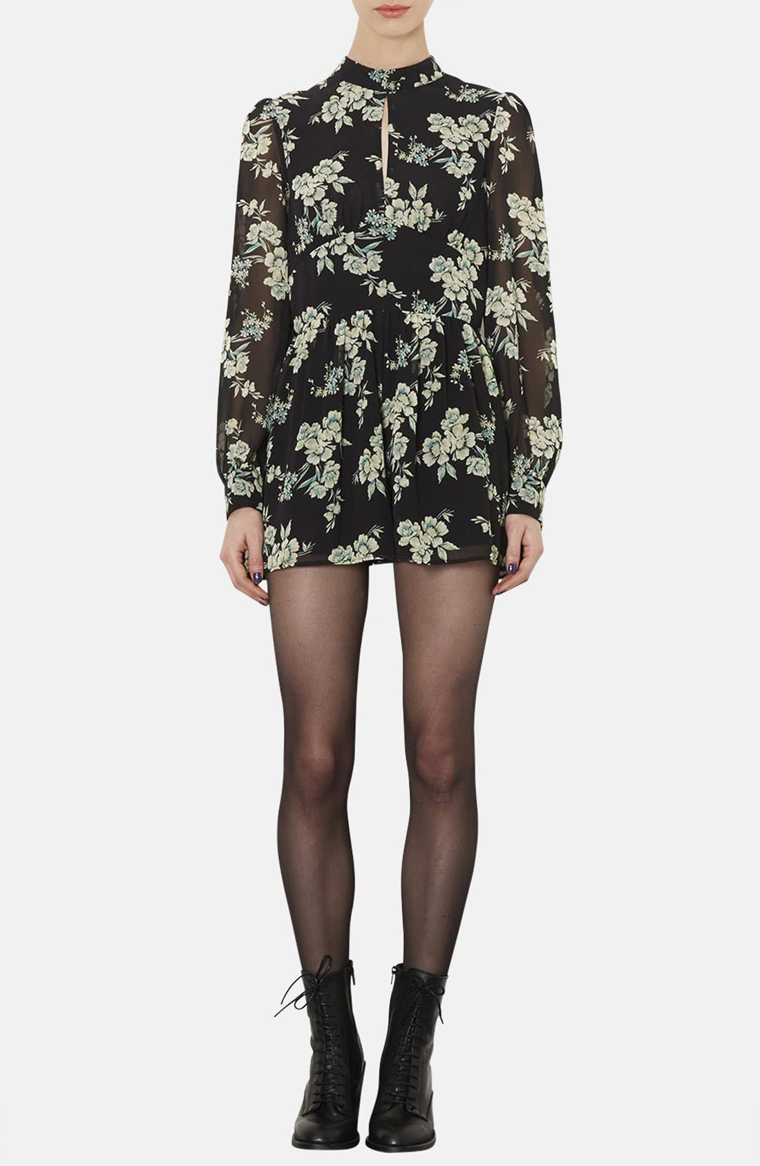 Alternate Image 1 Selected - Topshop Floral Print Long Sleeve Romper