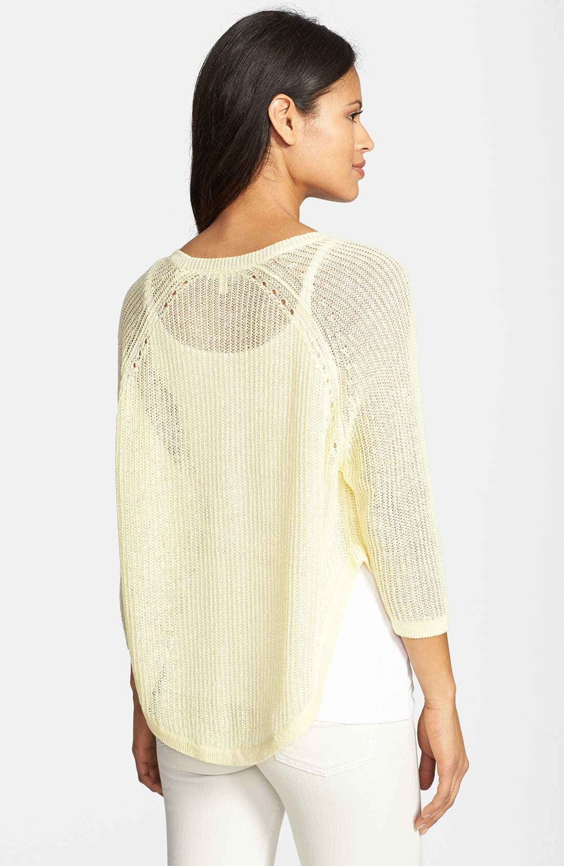 Alternate Image 2  - Eileen Fisher Three Quarter Sleeve Linen Sweater (Regular & Petite)