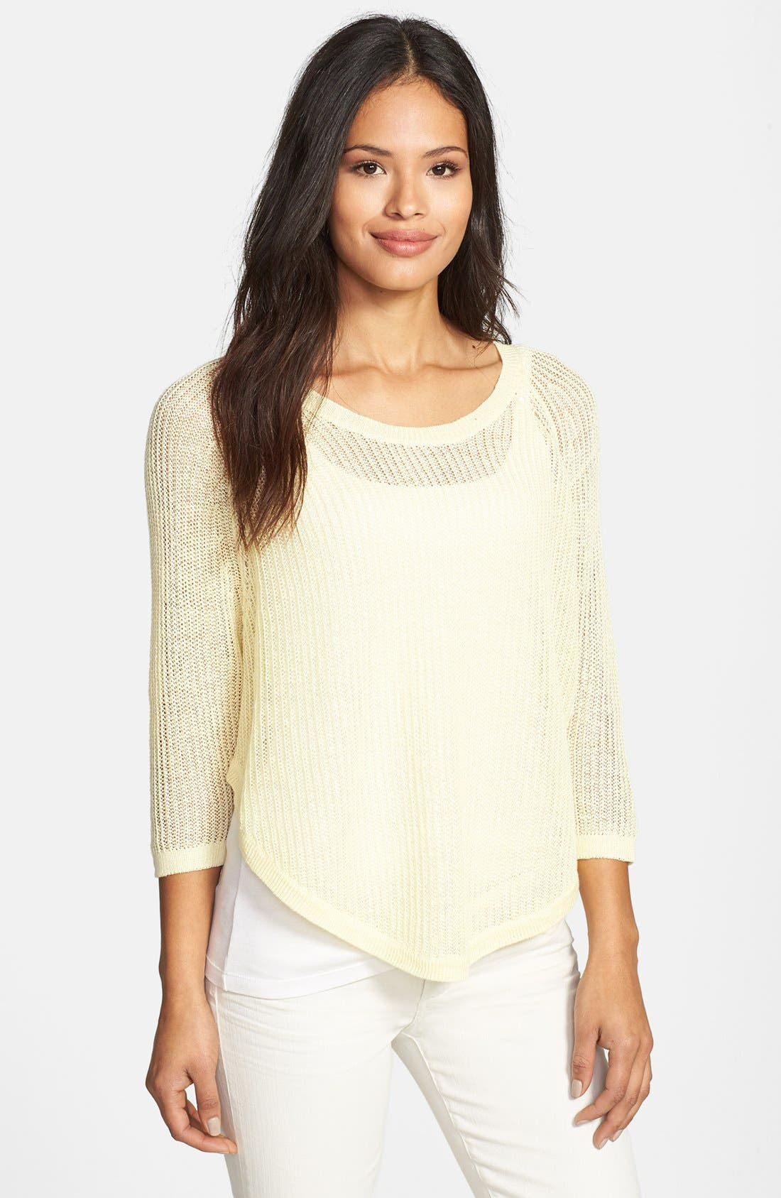Alternate Image 1 Selected - Eileen Fisher Three Quarter Sleeve Linen Sweater (Regular & Petite)