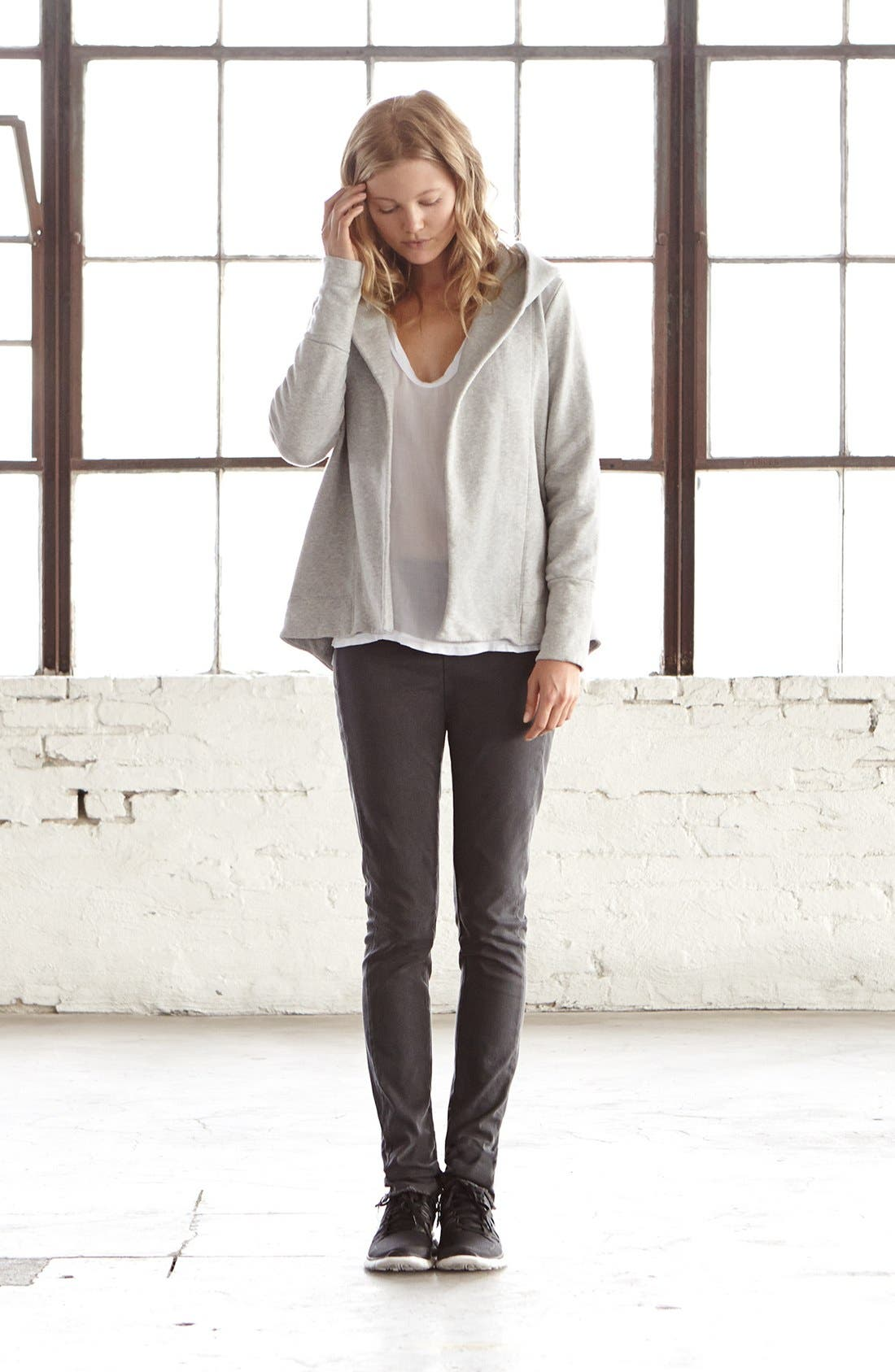 Alternate Image 4  - James Perse Open Front Draped Hoodie