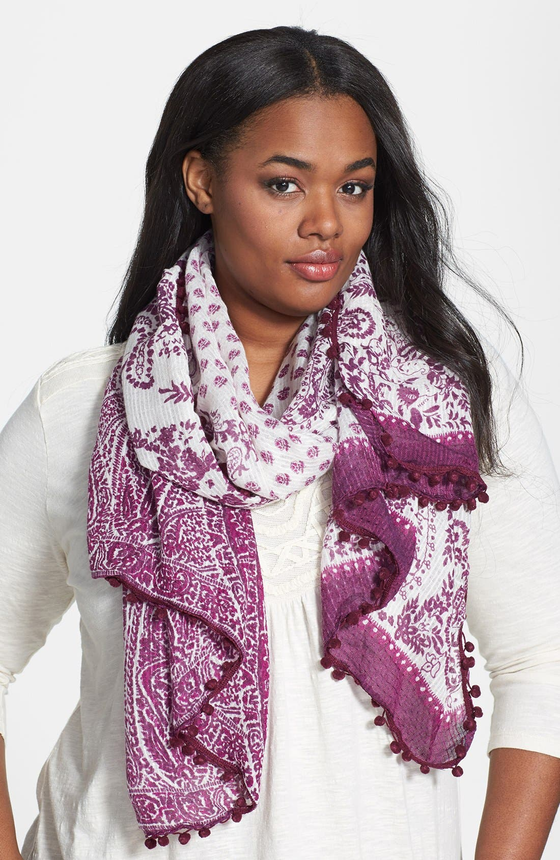 Alternate Image 1 Selected - Lucky Brand 'Paisley Pompom' Scarf