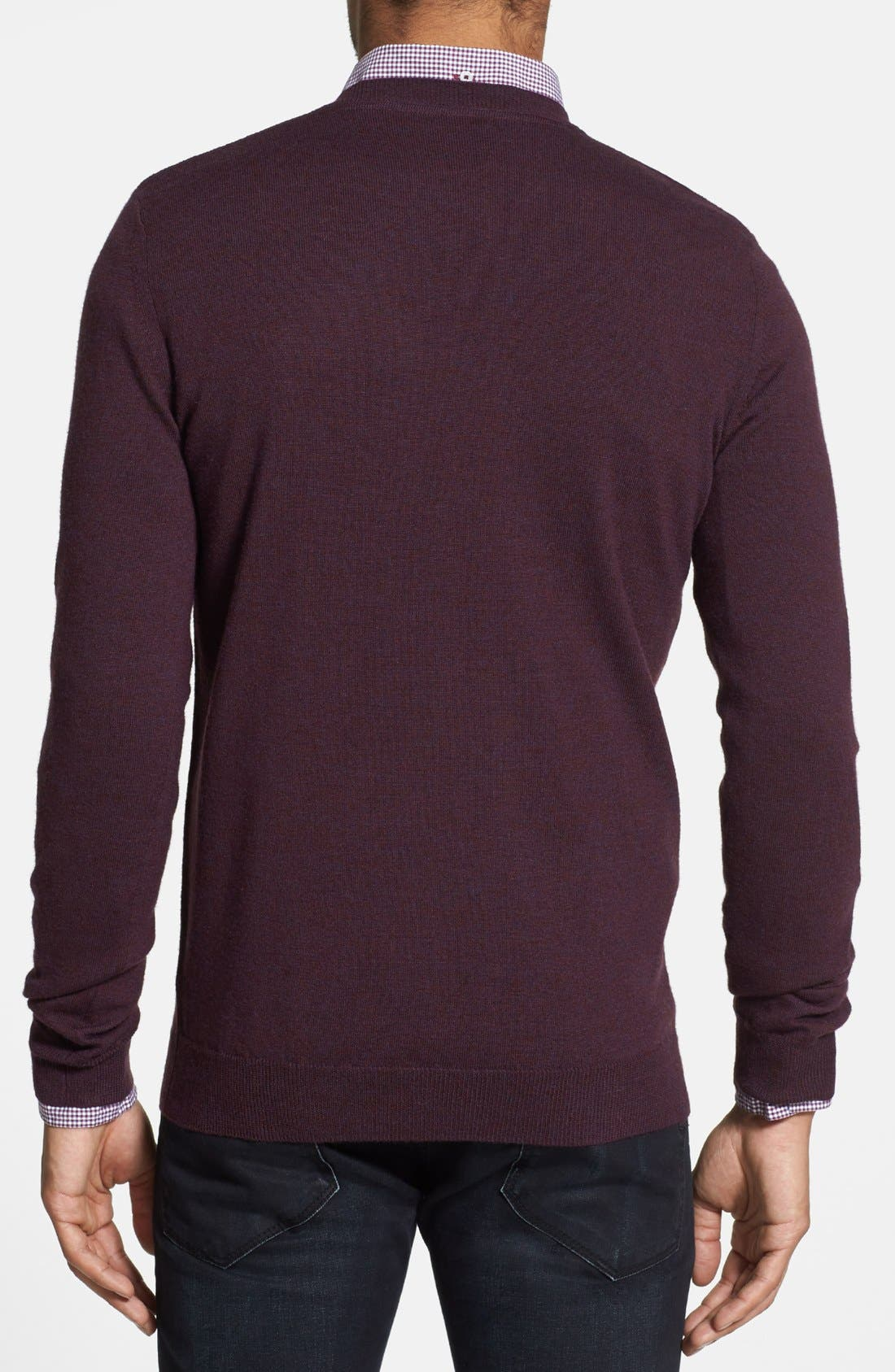 Alternate Image 2  - Burberry Brit Trim Fit Check Shoulder V-Neck Merino Wool Sweater